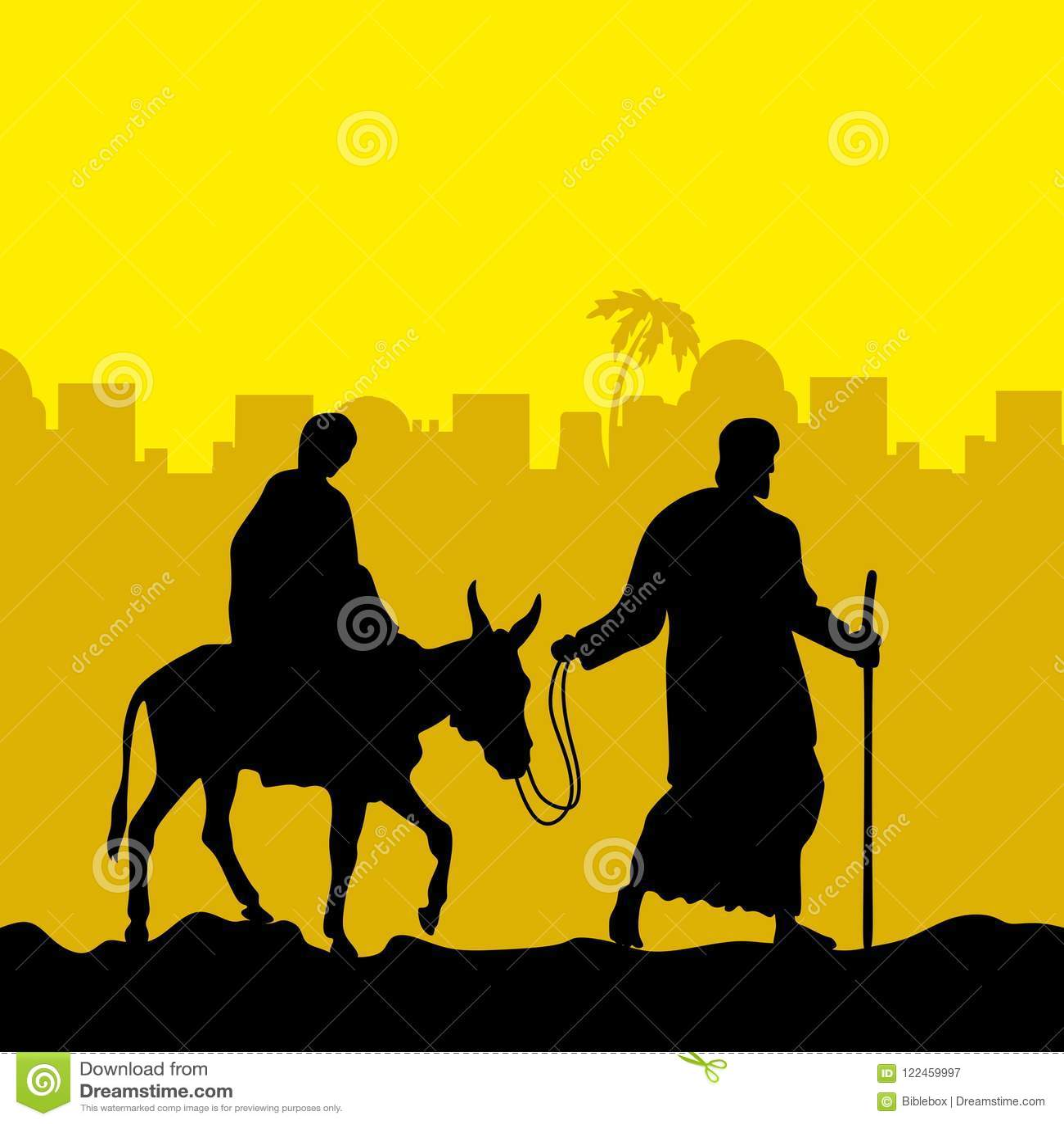 José y Maria están en un burro Escena de la Navidad