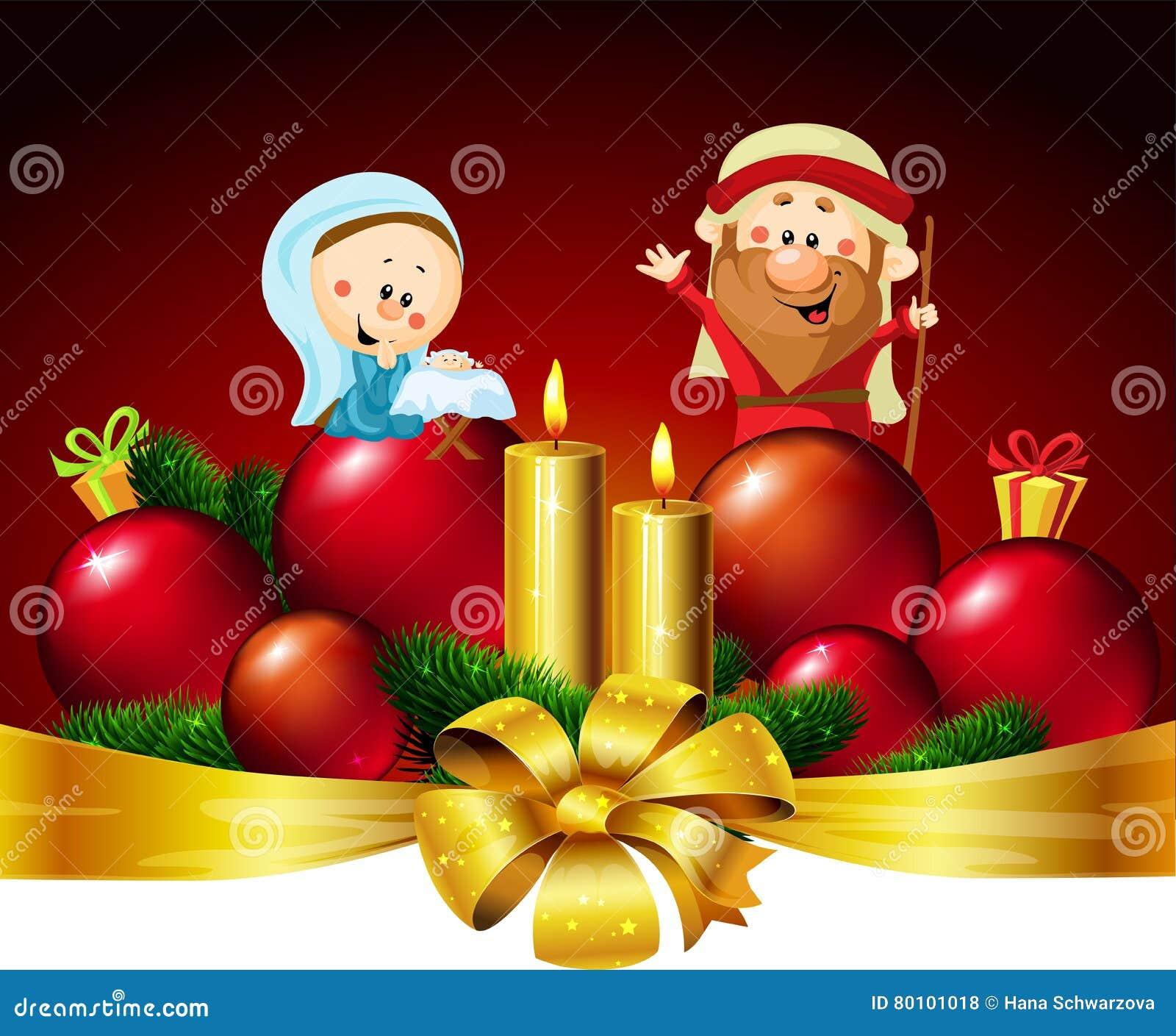 Joseph, Mary och Jesus - illustration för design för julvektorbaner med stearinljuset