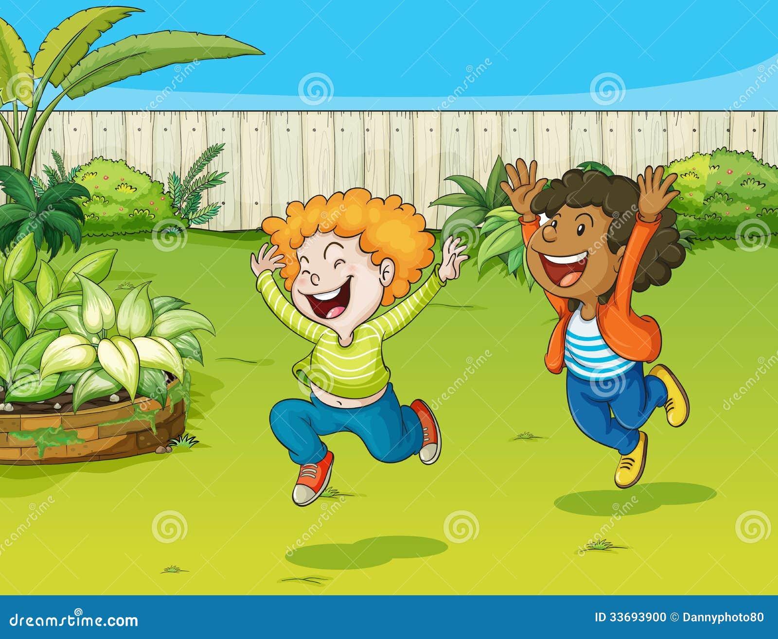 Jouer des enfants dans un jardin illustration de vecteur for Dans in jardin