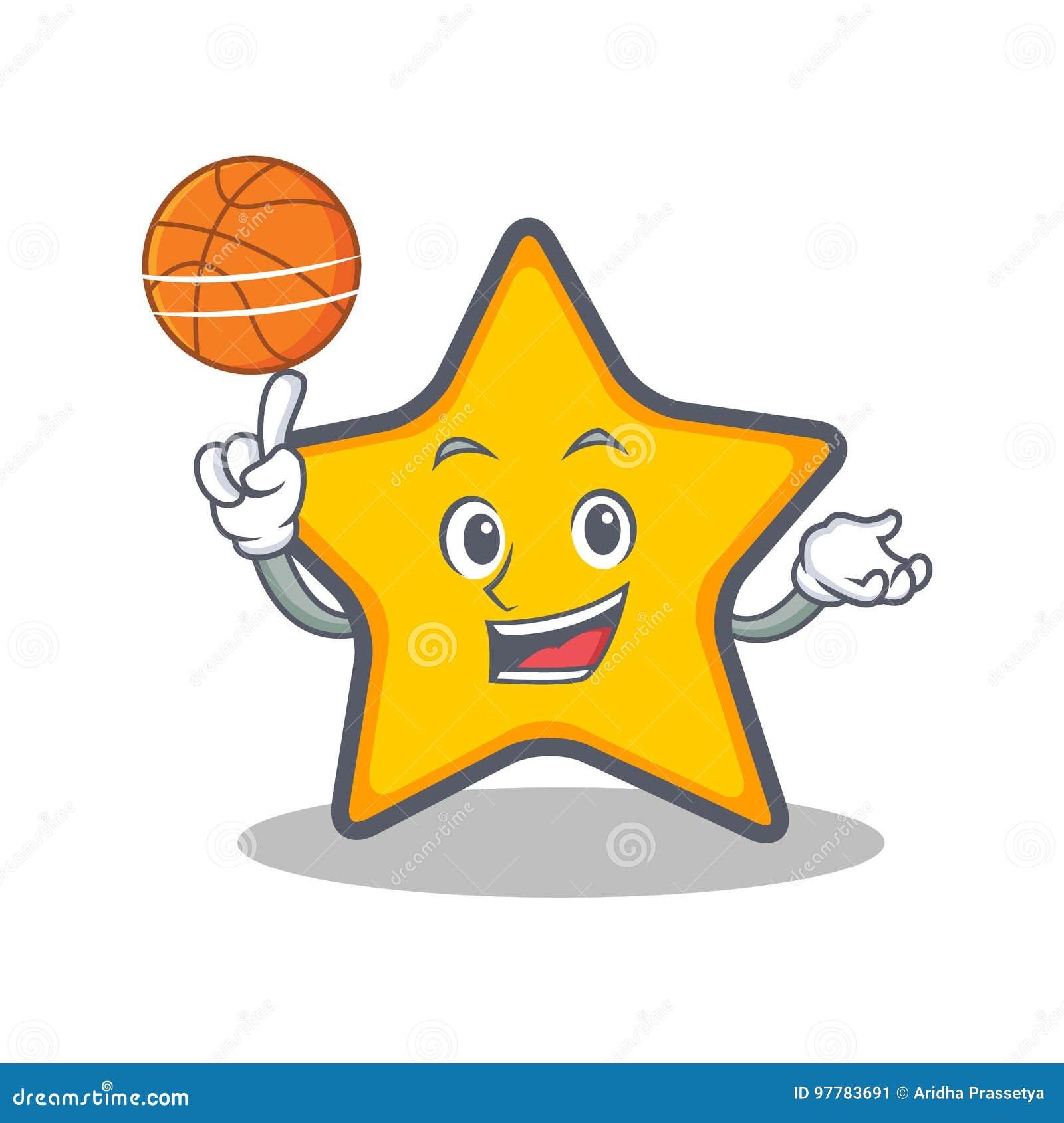 Jouer le style de bande dessinée de caractère de star du basket-ball