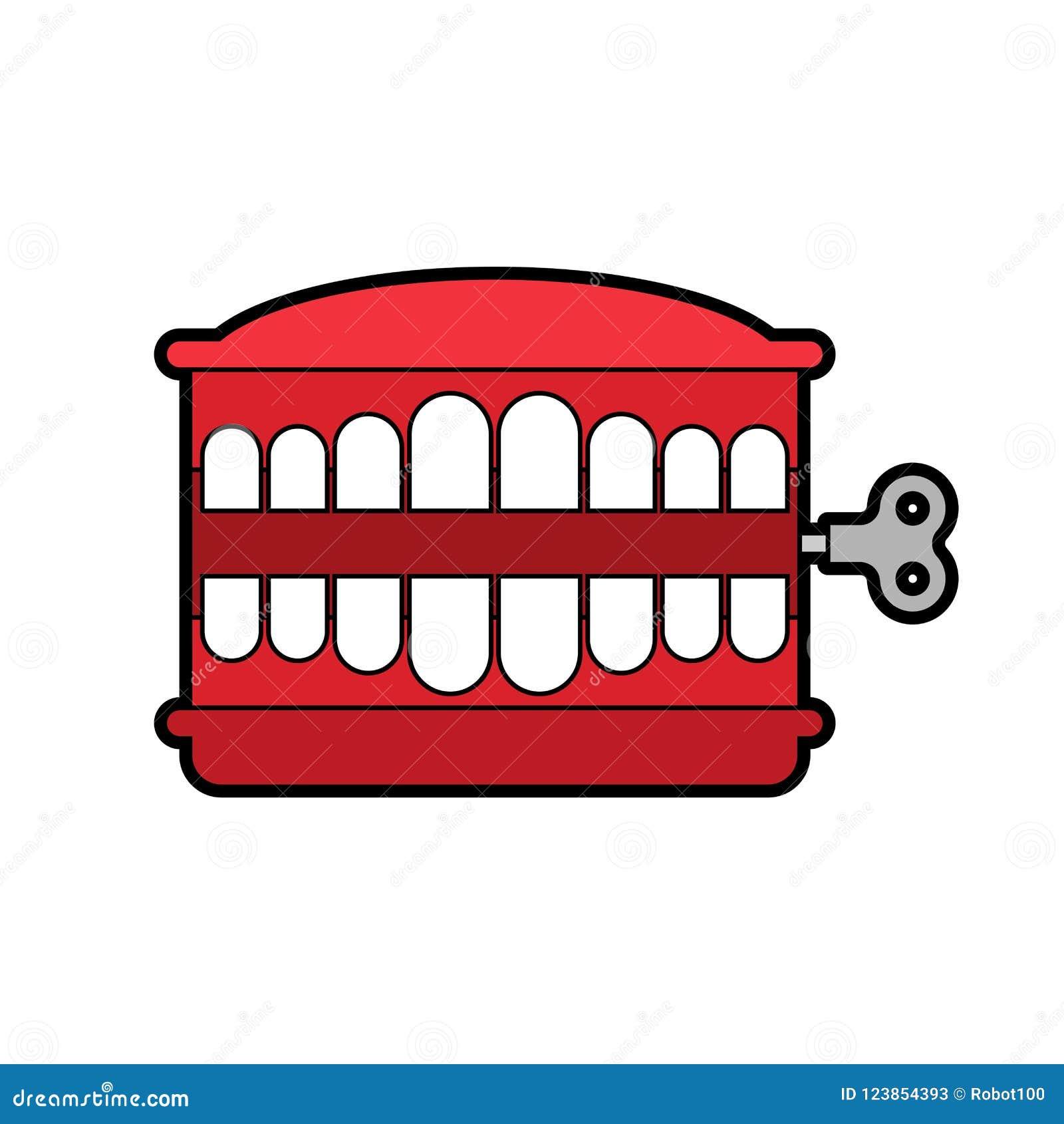 Jouet de dents de broutement d isolement Symbole d April Fools Day Vect de jouet de mâchoire