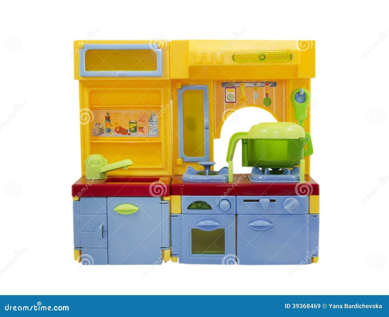 Jouet en plastique de cuisine d 39 isolement sur le blanc - Cuisine plastique jouet ...