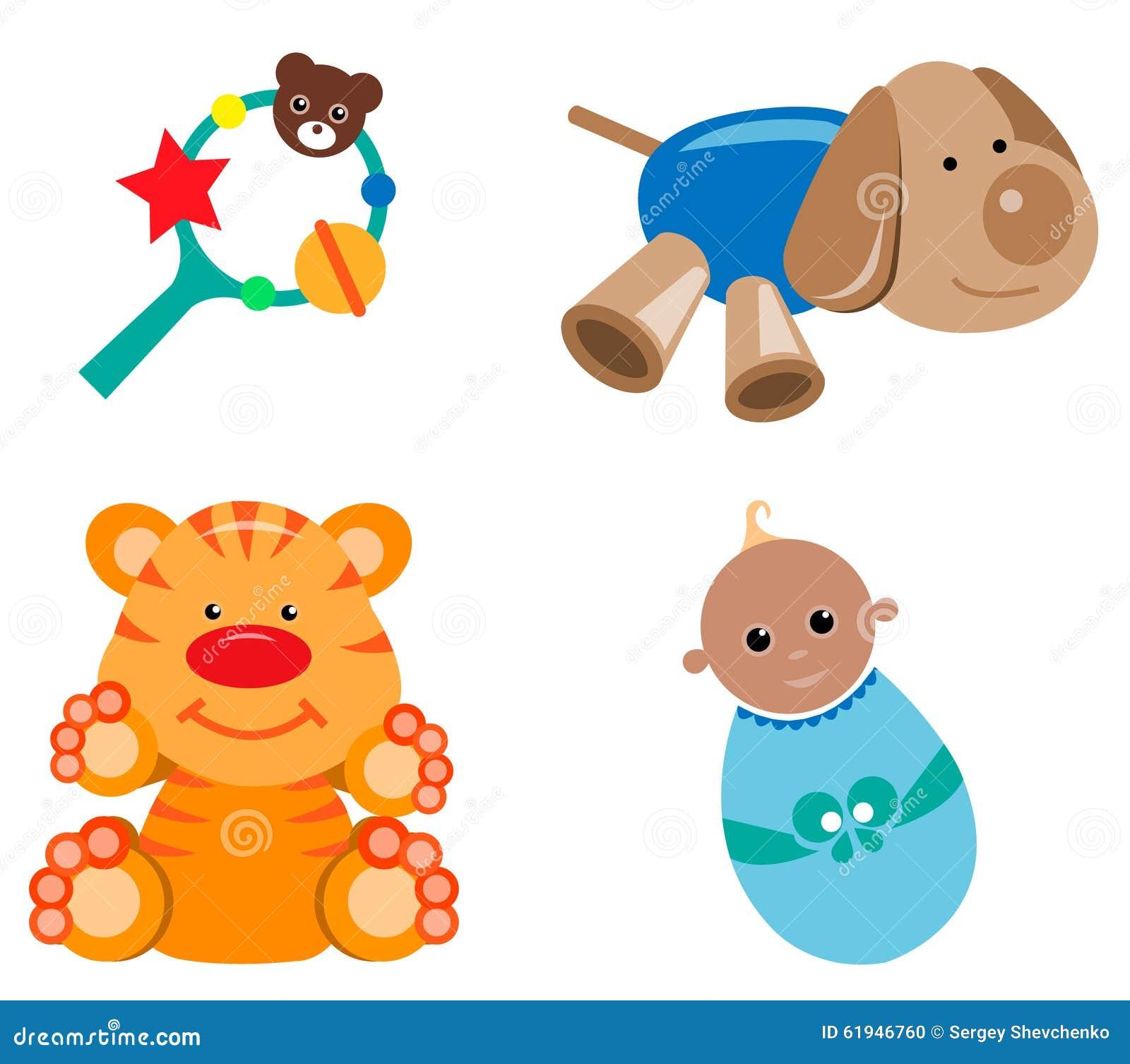 jouets d 39 enfants illustration de vecteur illustration du canette 61946760. Black Bedroom Furniture Sets. Home Design Ideas