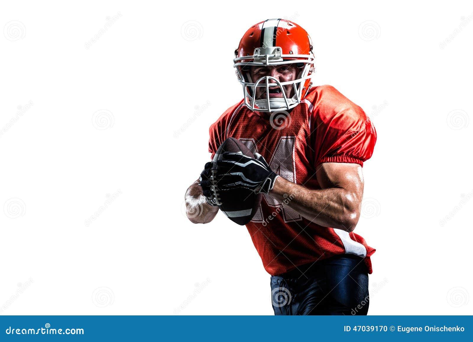 Joueur de football américain dans le blanc d action d isolement