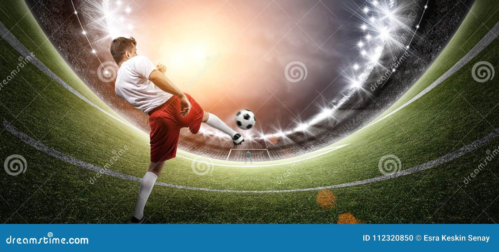 Joueur de football dans le stade