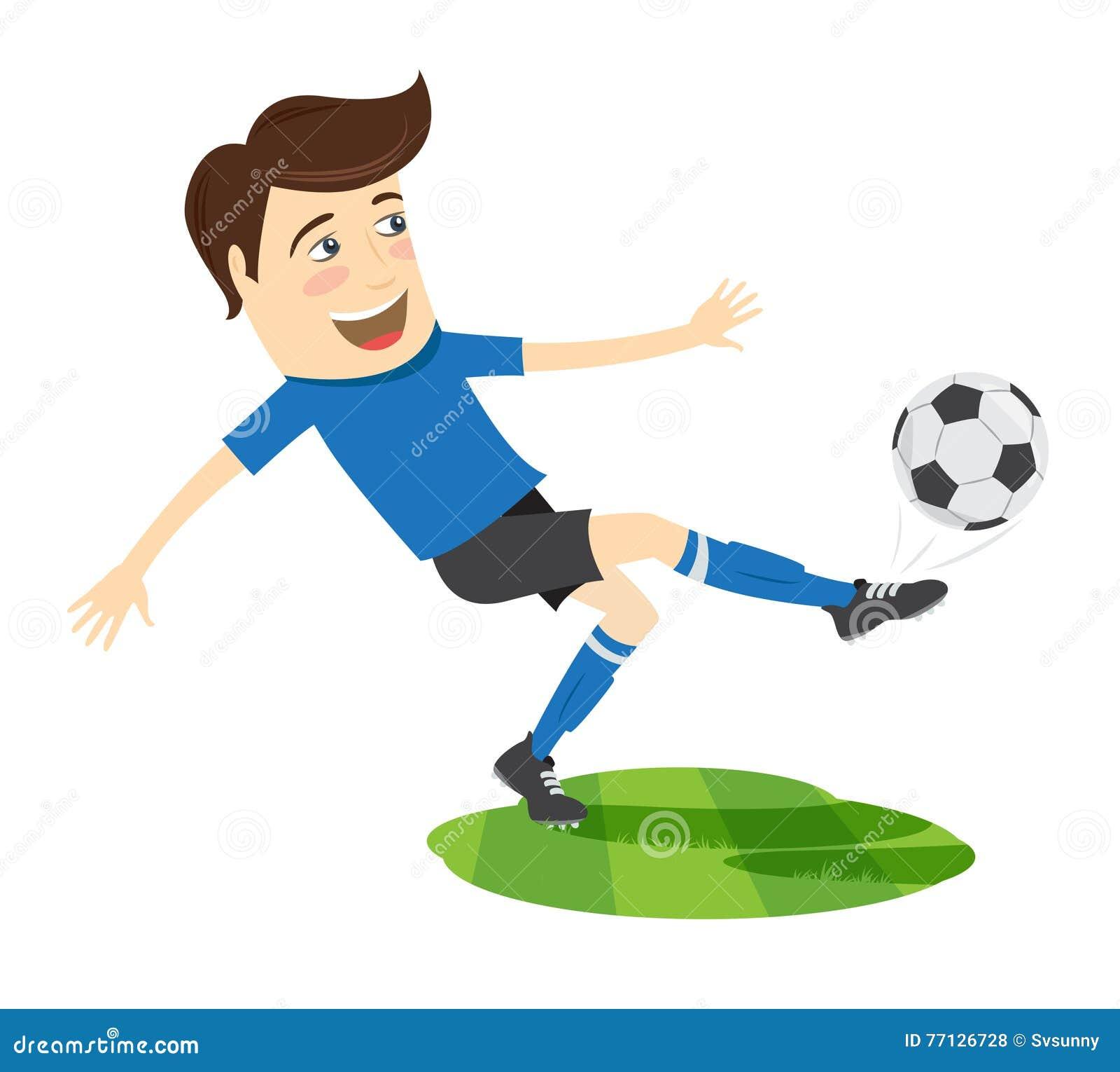 Joueur De Football Drole Du Football Portant Le Kickin Courant De T