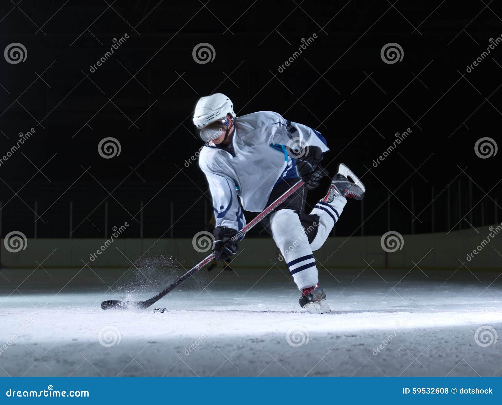 Joueur de hockey de glace dans l action