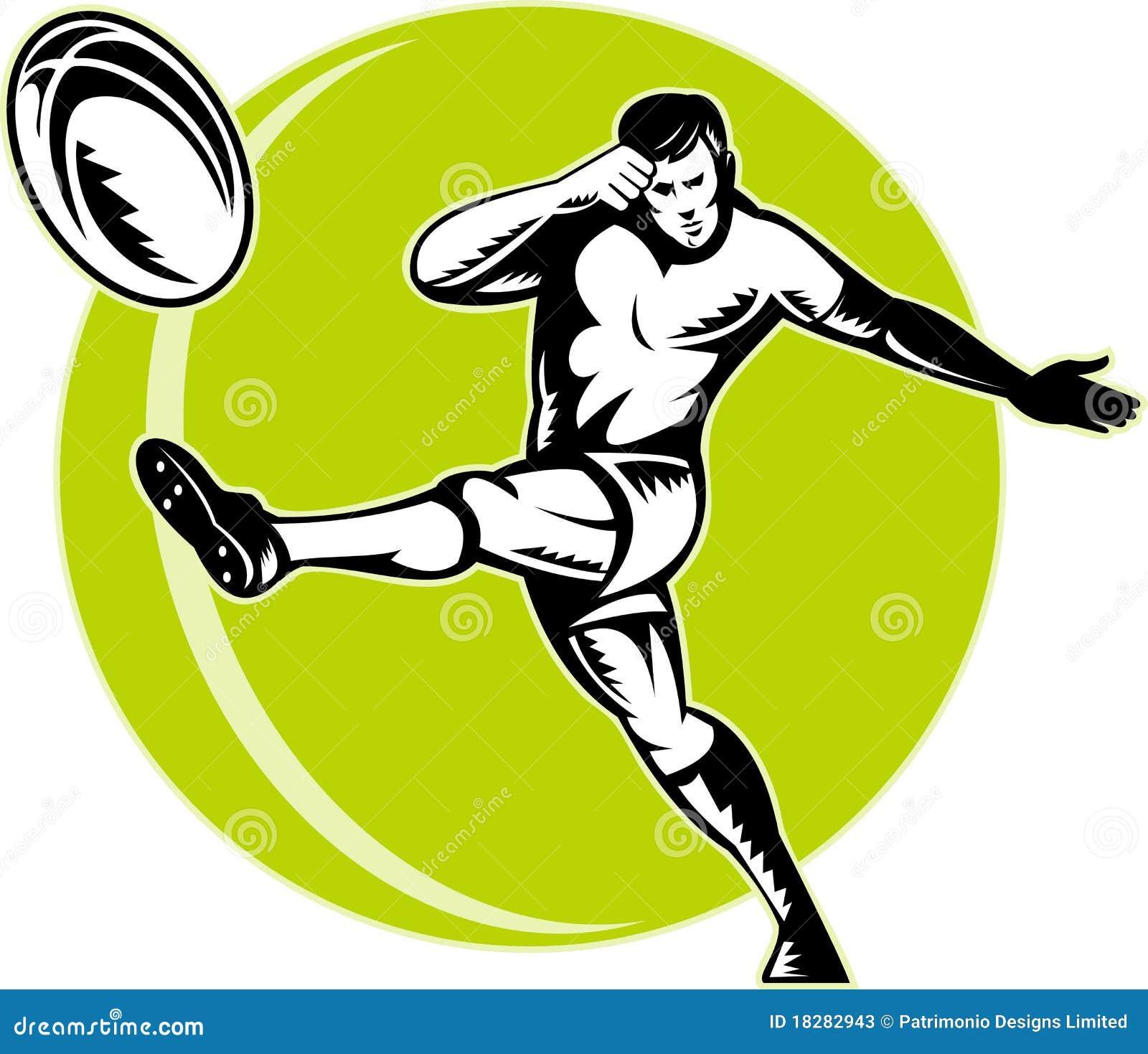 Joueur de rugby donnant un coup de pied la bille illustration stock illustration du dessin - Dessin de joueur de rugby ...