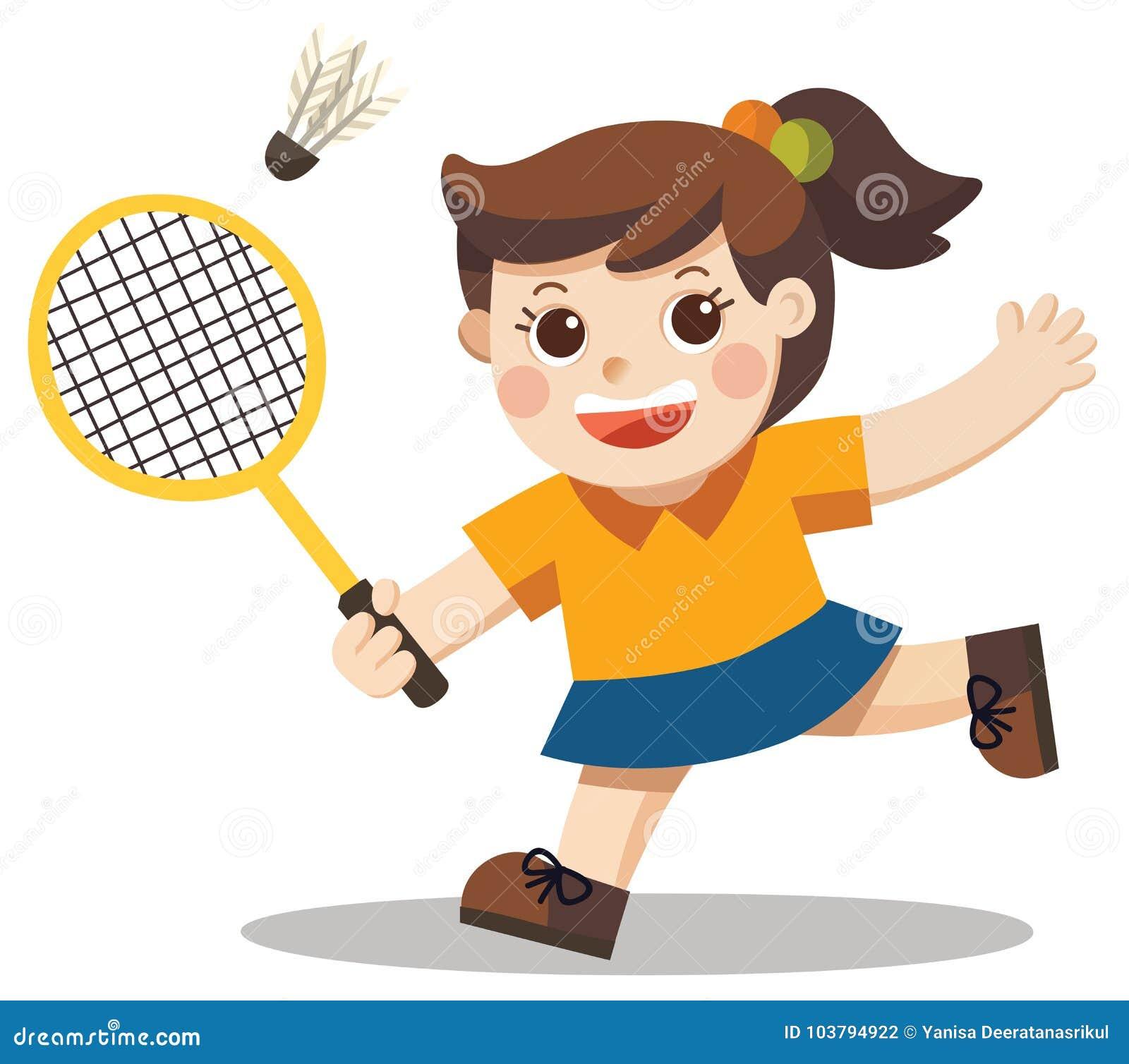 Joueur de sport Une fille mignonne jouant le badminton