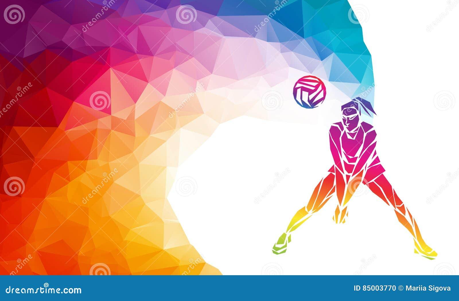 Abstract Triangle Volleyball Player Silhouette Stock: Joueur De Volleyball Bannière Polygonale De Vecteur De