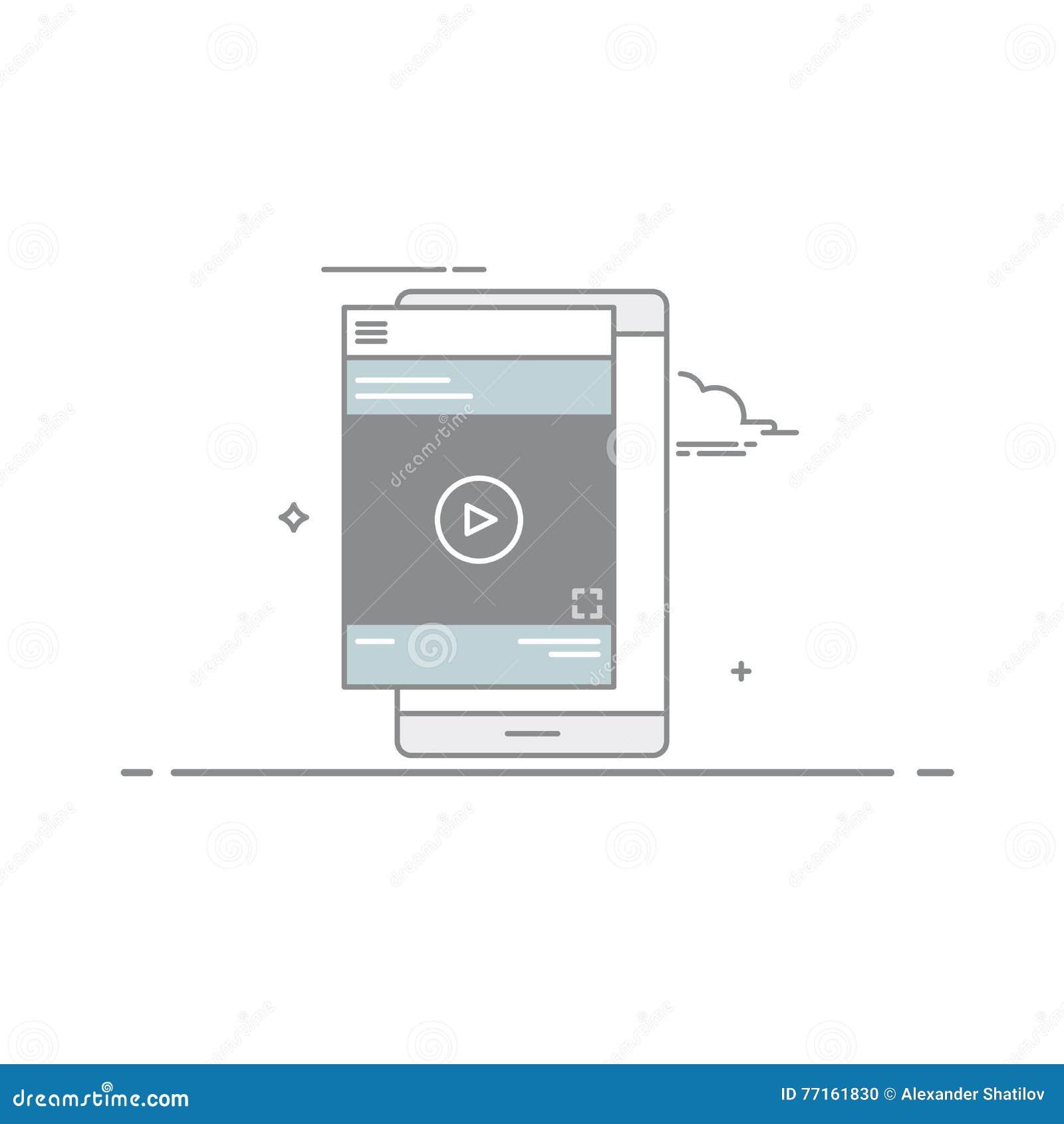 Joueur visuel ou cours de concept de construction dans l interface de périphérique mobile, conçue dans un style linéaire Illustra