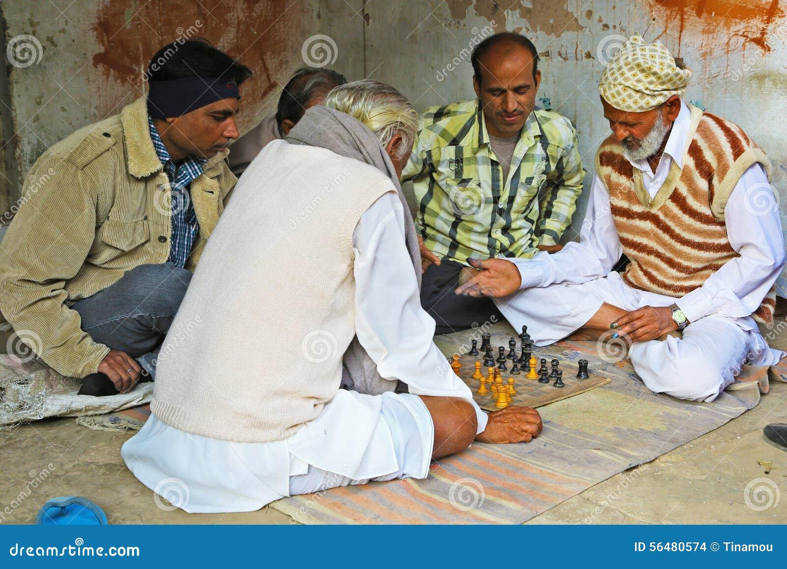 Joueurs d échecs indiens dans Mandawa, Ràjasthàn