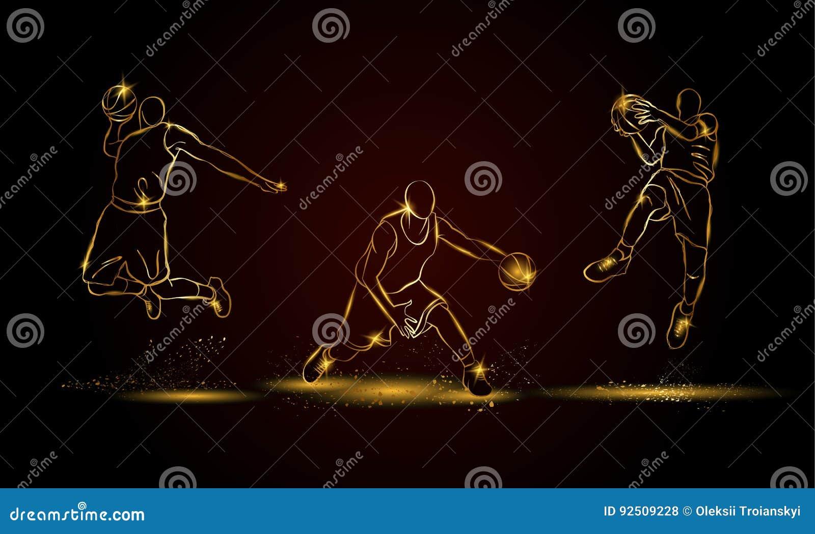 Joueurs de basket réglés Illustration d or de joueur de basket