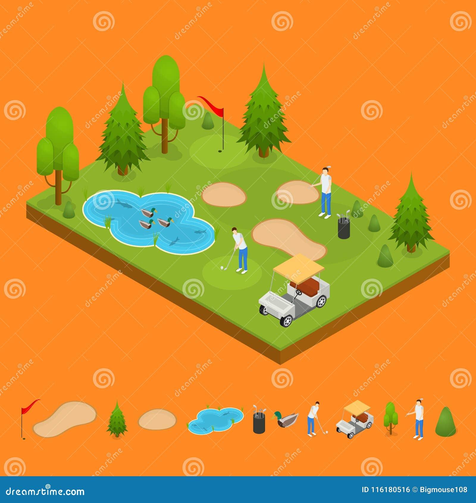 Jouez au golf la vue isométrique de concept de composition et de pièce 3d d éléments Vecteur