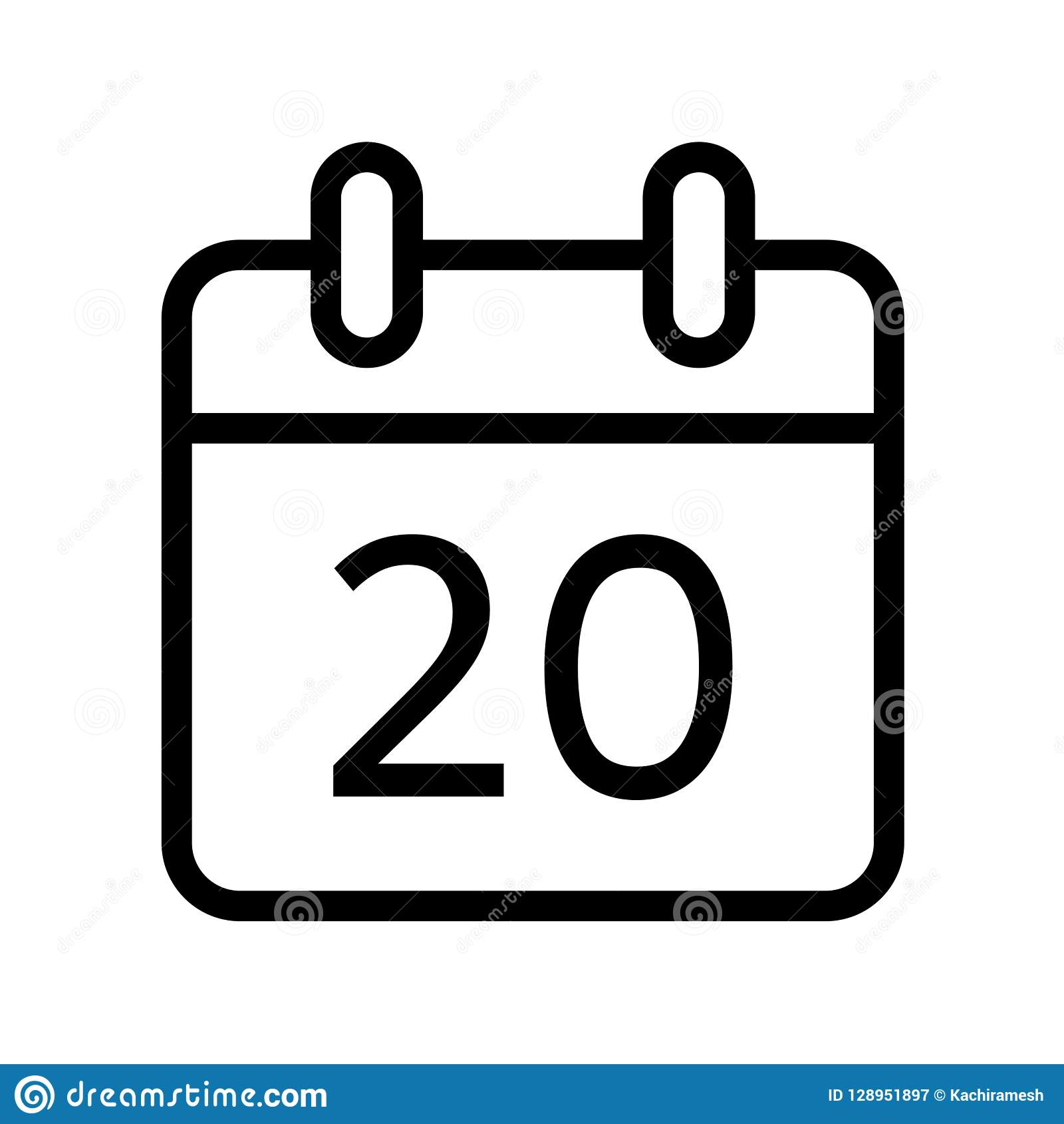 Jour civil icône de vingt dates
