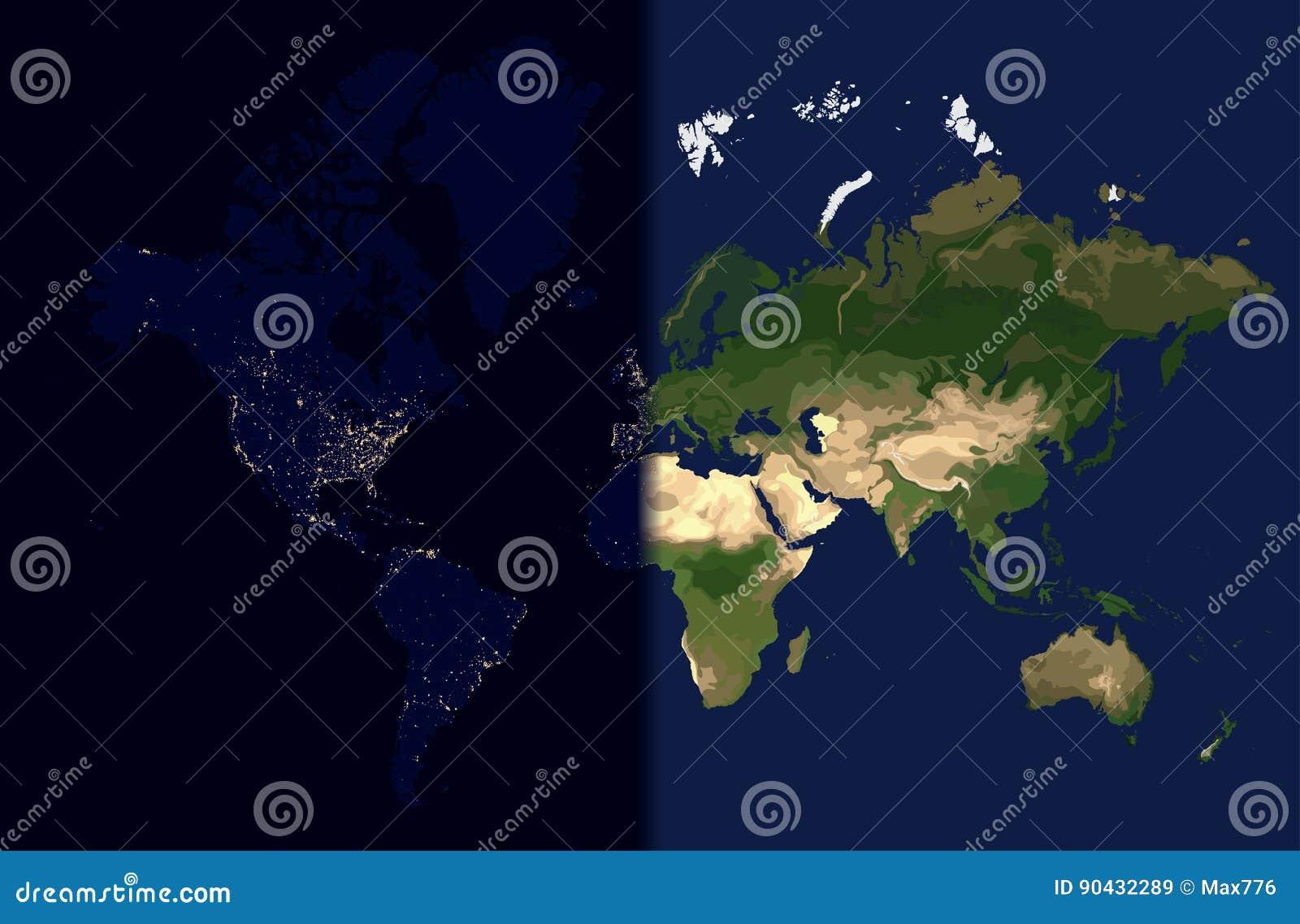 Carte Du Monde Jour Nuit.Jour Dans L Est Nuit Dans L Ouest Vecteur De Carte Du