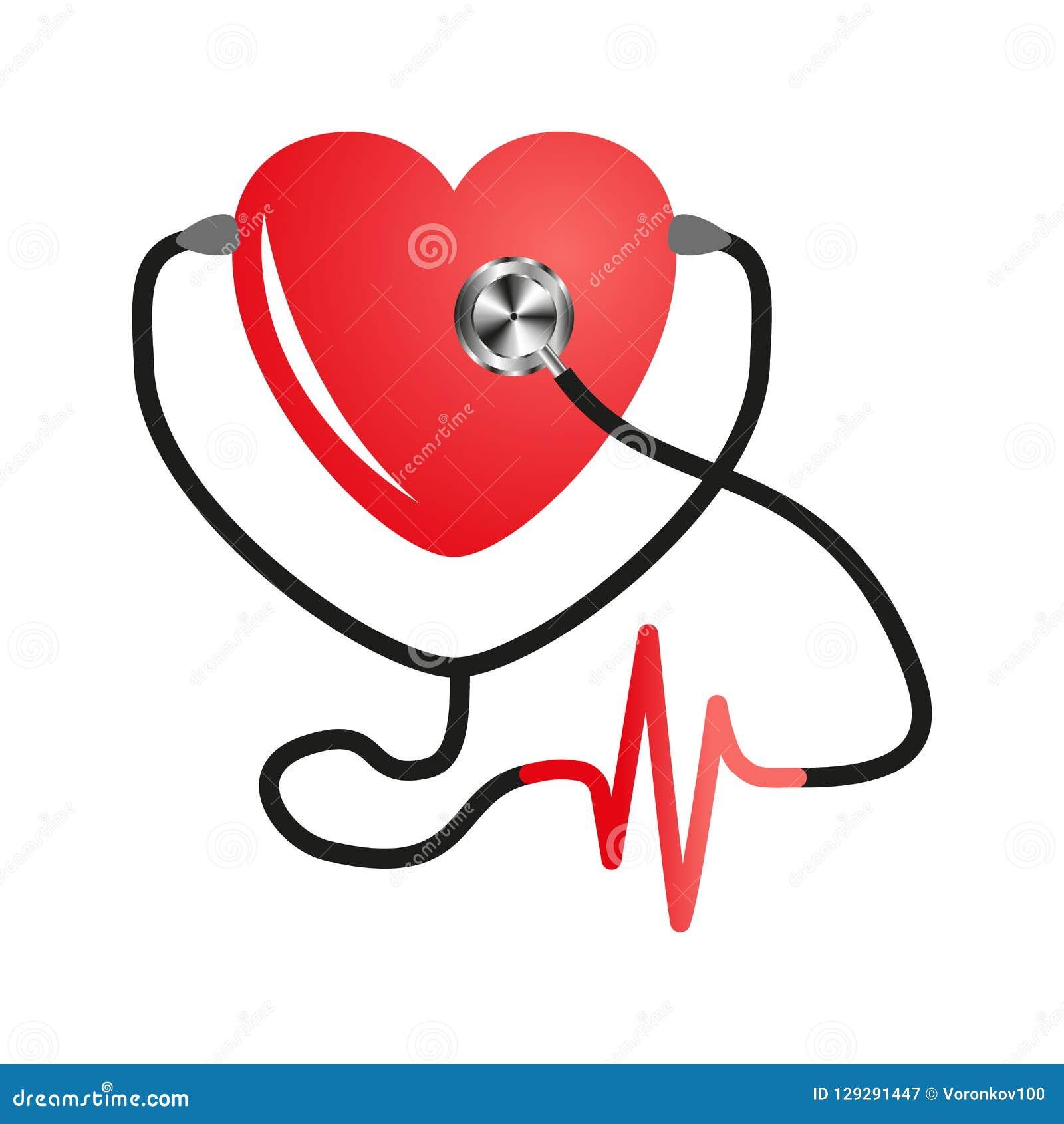 Jour de coeur du monde Stéthoscope de coeur Vecteur plat sur le fond blanc d isolement Conception de service médical, cardiogramm