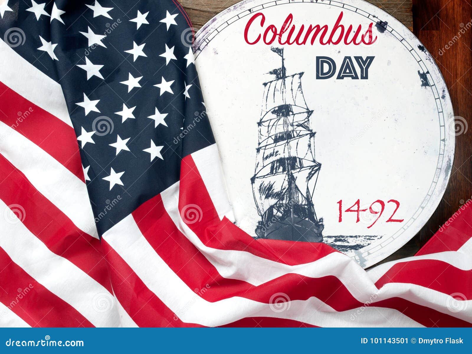 Jour de Columbus heureux Les Etats-Unis diminuent