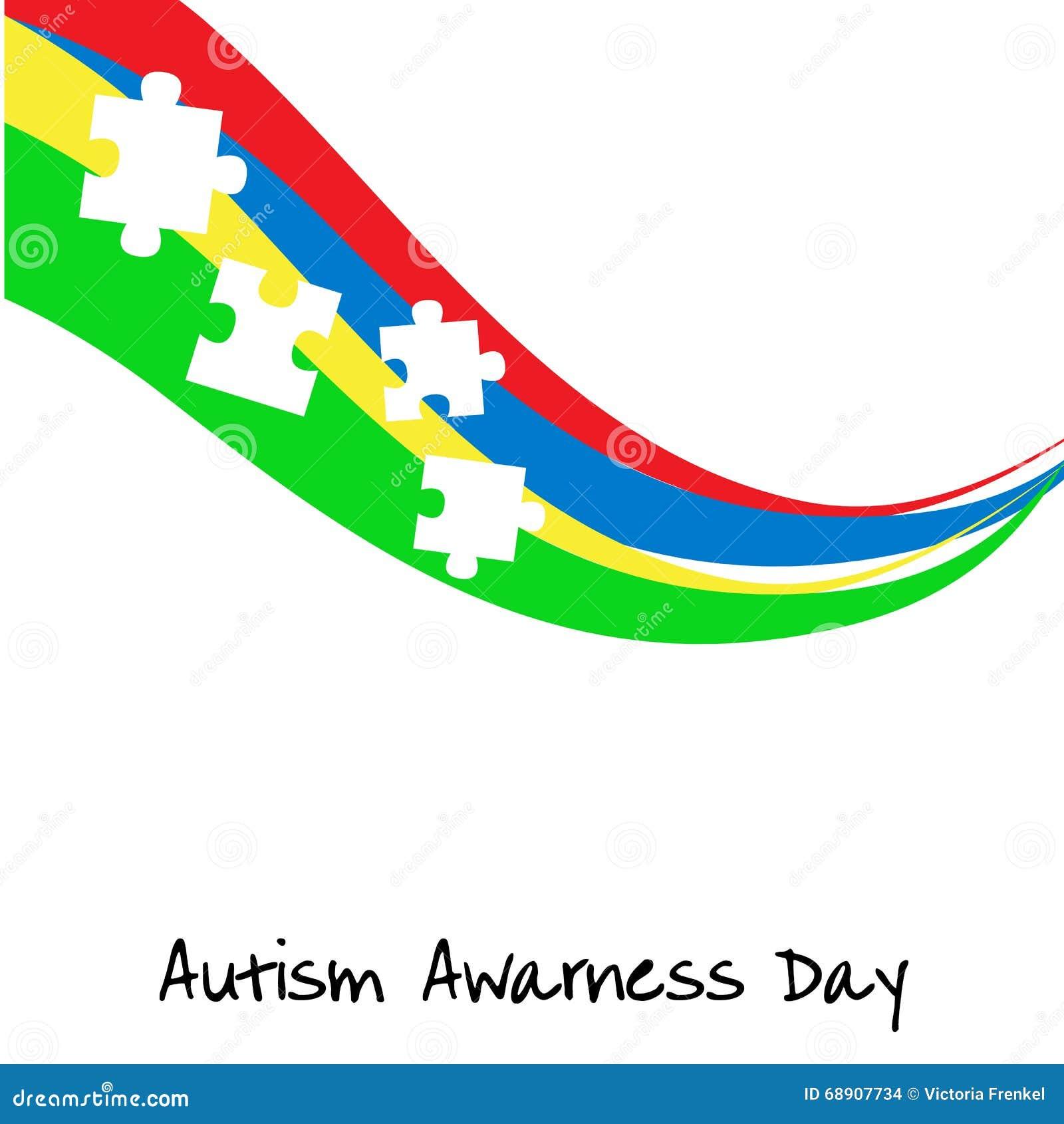 Jour de conscience d autisme Calibre de carte ou d affiche Illustration de vecteur