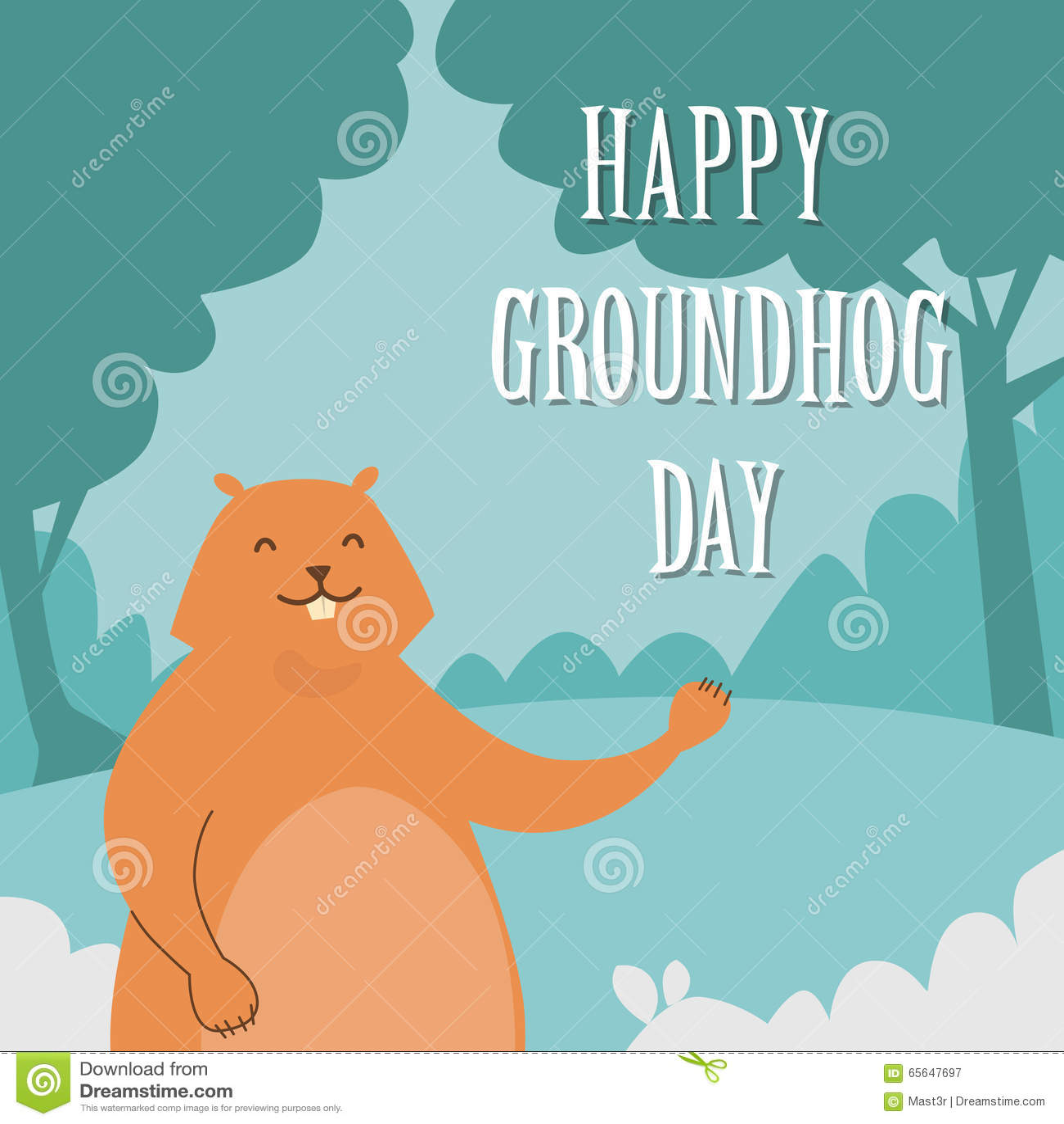 Jour de Groundhog Paw Greeting Card de ondulation animal heureux