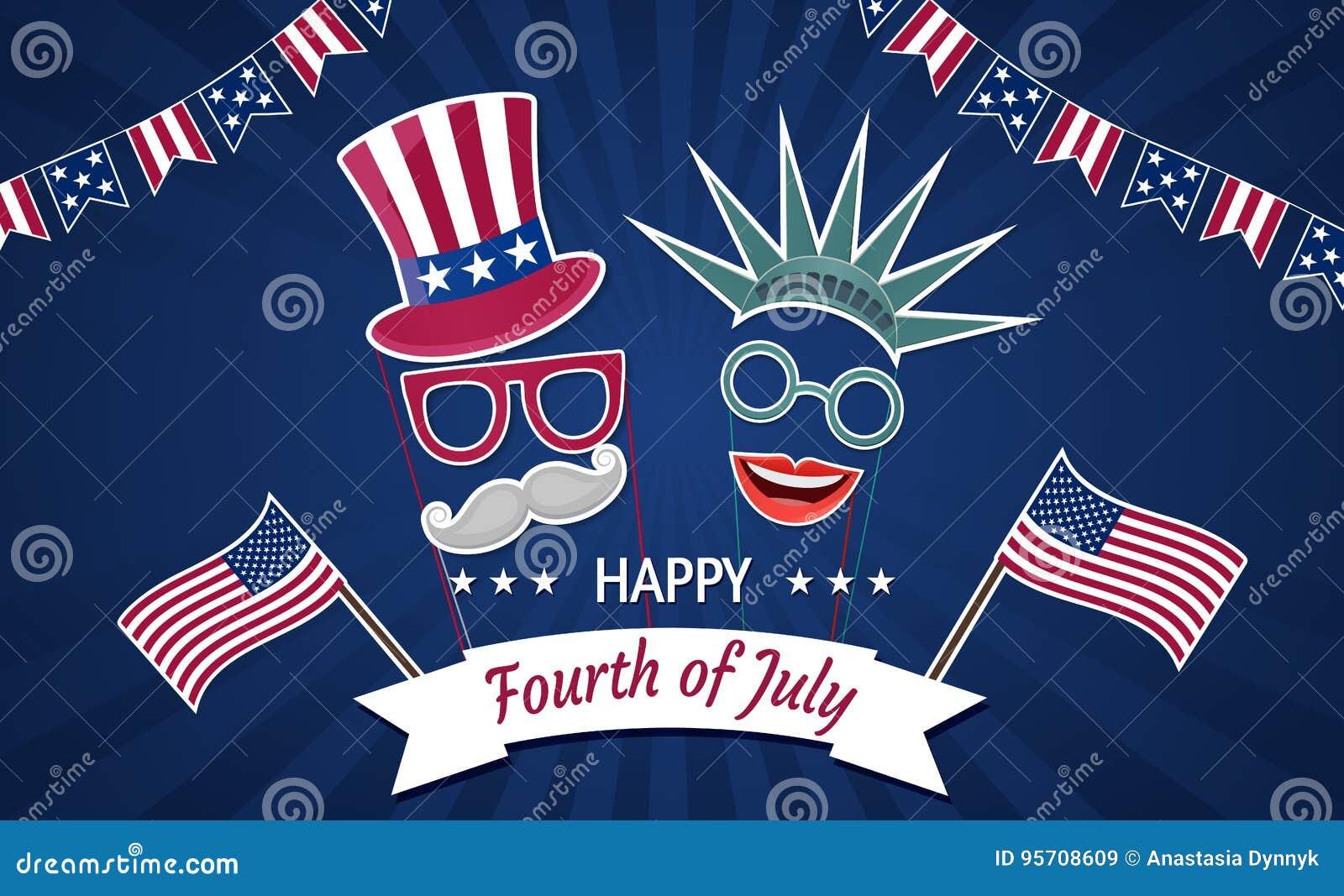 Jour de la Déclaration d Indépendance heureux Etats-Unis Quart de juillet Attributs patriotiques, invitation de partie