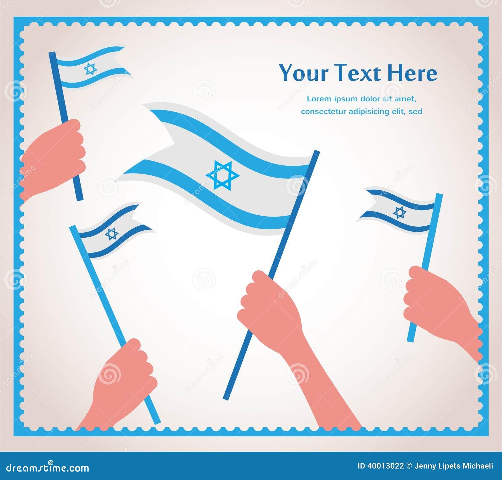 Jour de la Déclaration d Indépendance israélien heureux. main tenant un drapeau.