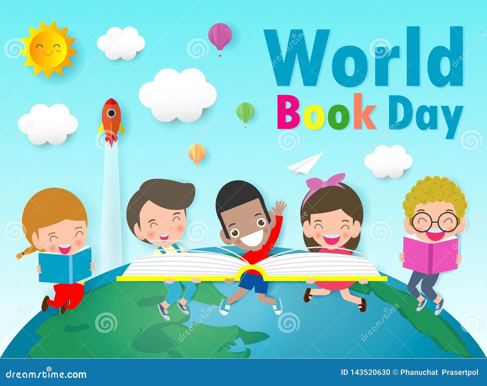 Jour de livre du monde, livres de lecture d enfant, concept d ?ducation, illustration heureuse de vecteur de jour de livre