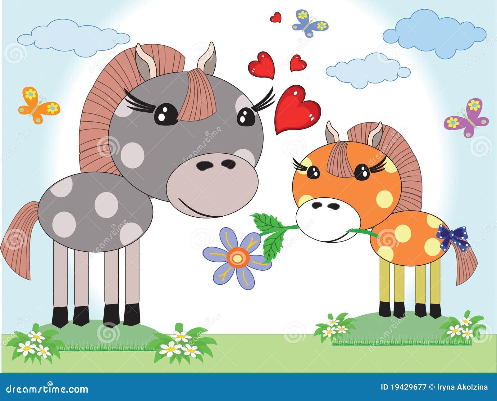 Jour de mères, deux chevaux