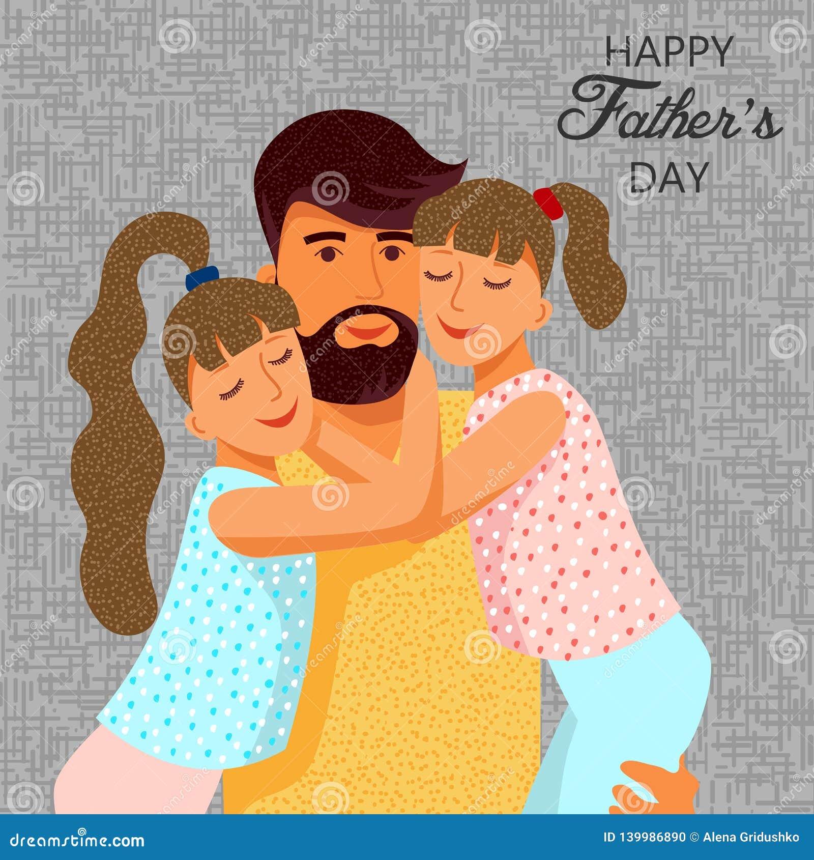 Jour De Pères Heureux Père Plat Mignon De Bande Dessinée Et
