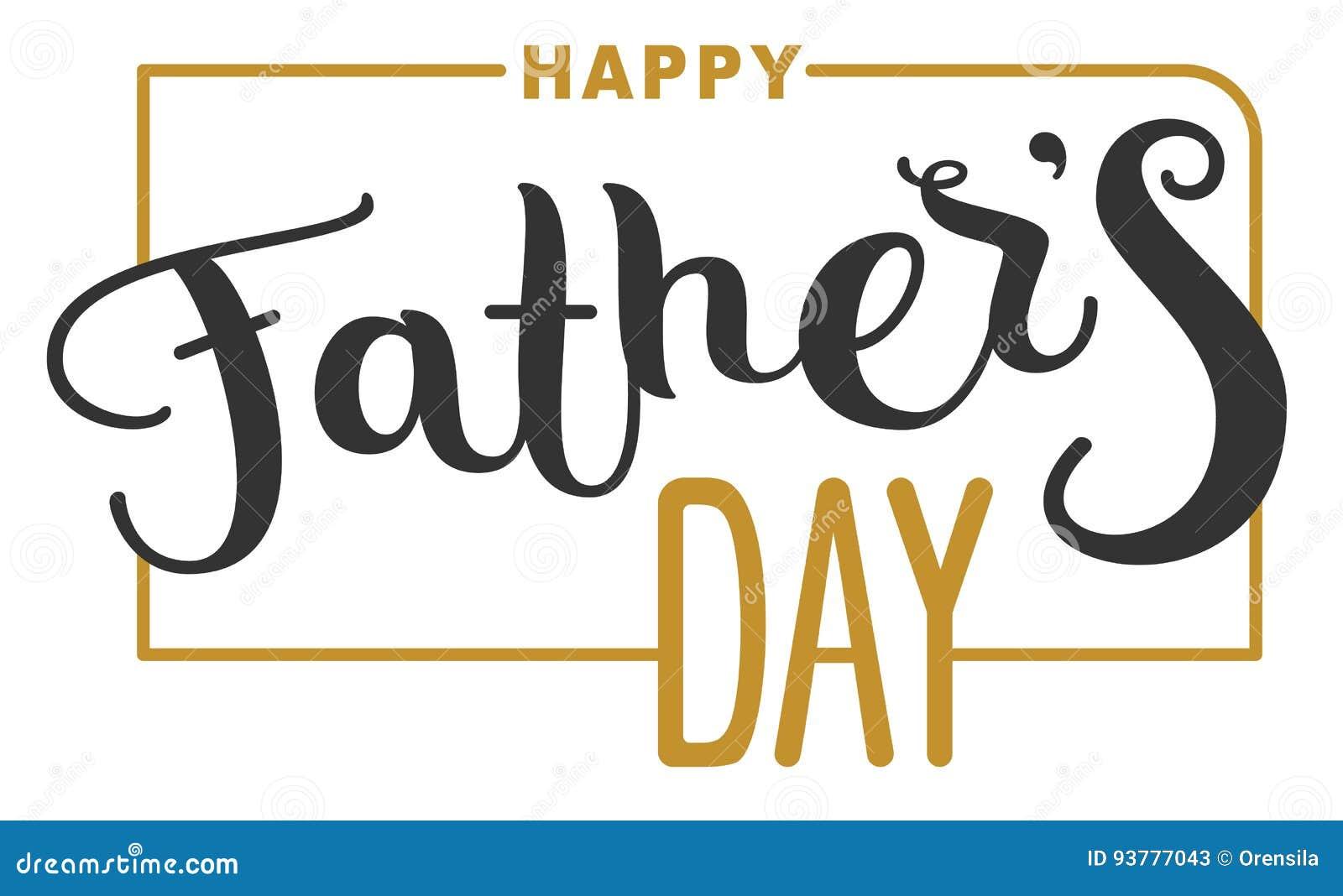 Jour de pères heureux Texte de lettrage pour la carte de voeux de calibre