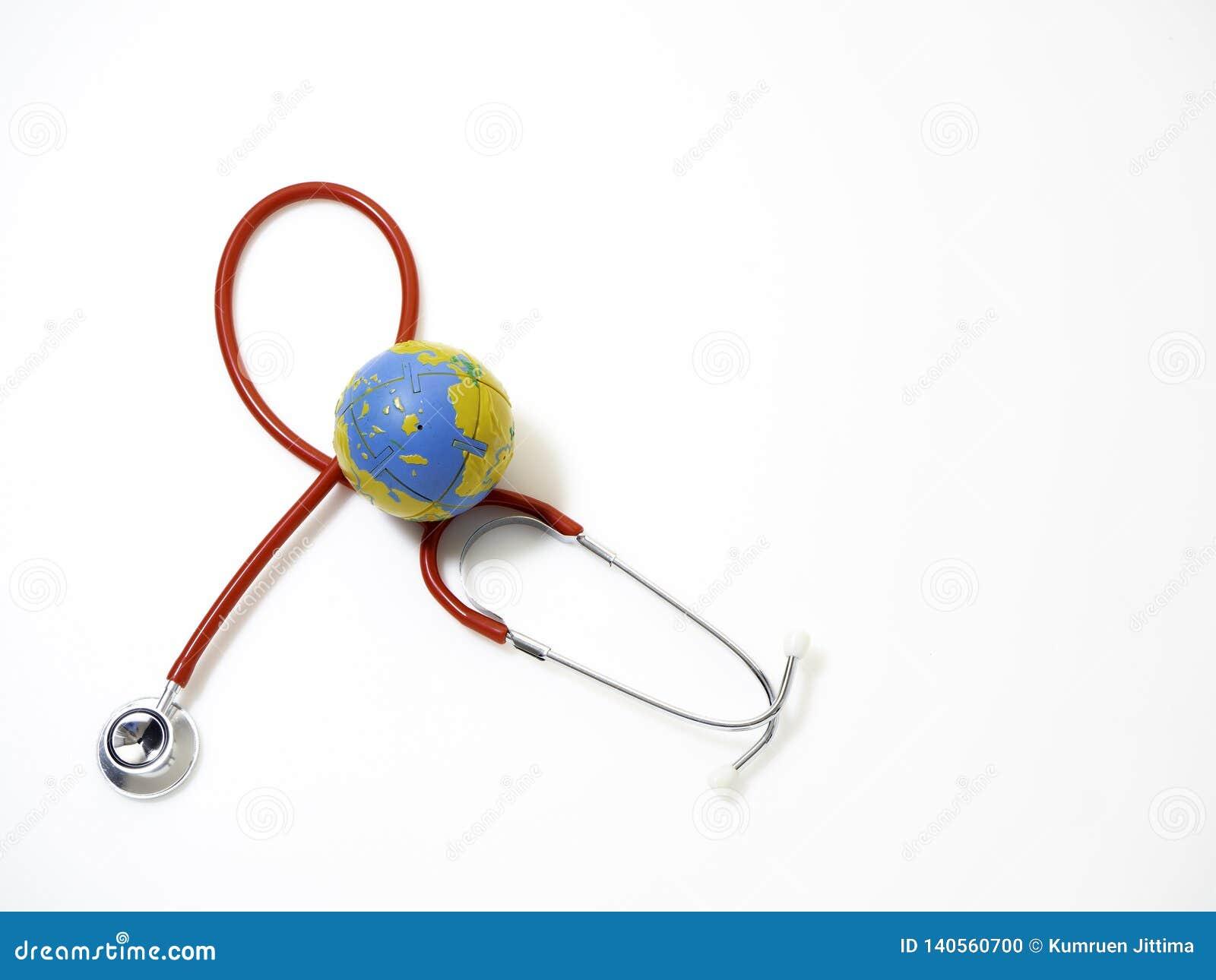 Jour de santé du monde de concept, stéthoscope rouge
