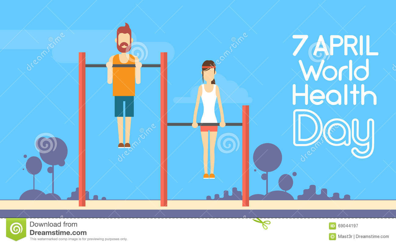 Jour de santé du monde de Chin Up Bar Exercise Workout de femme d homme de forme physique de sport 7 April Holiday