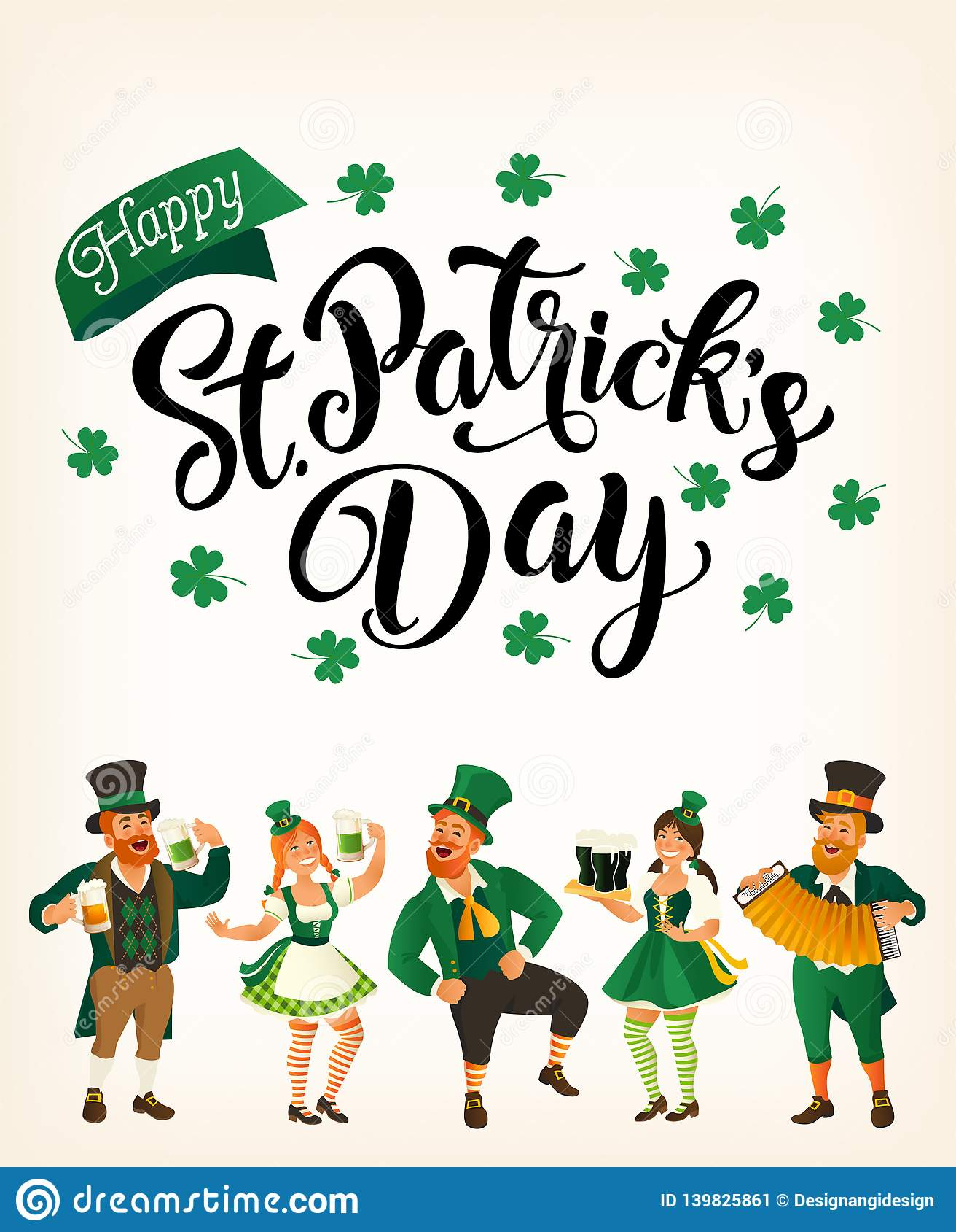 Jour de St Patrick s Calibre avec les personnes de danse drôles dans des costumes de fête Illustration de vecteur Idée pour la ba