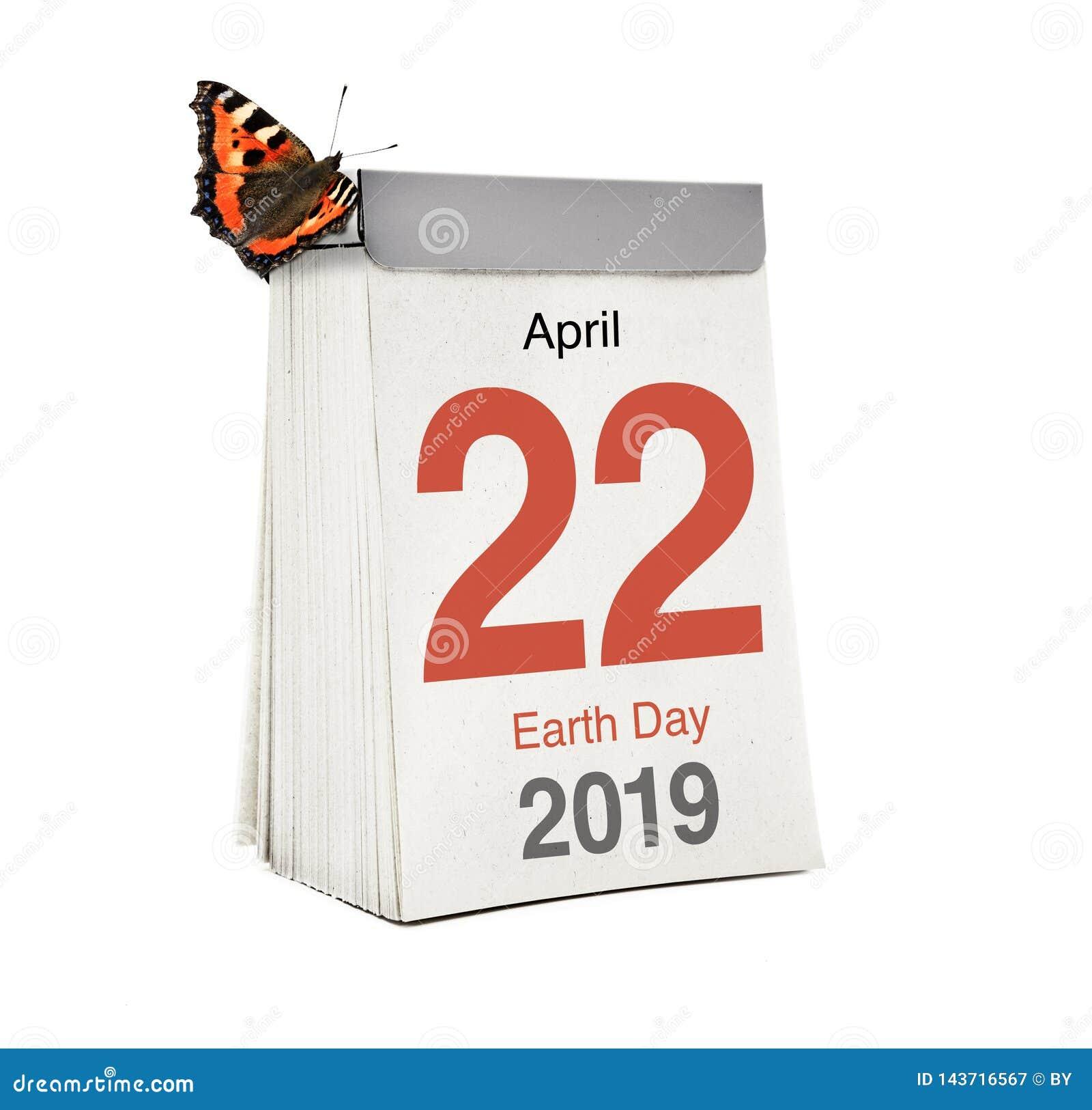 Jour de terre de calendrier le 22 avril 2019