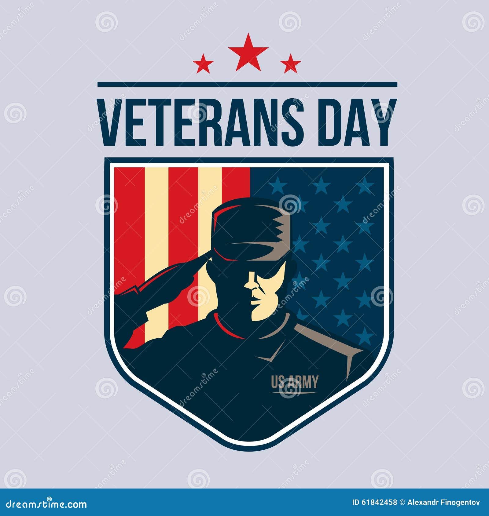 Jour de vétérans - bouclier avec le soldat saluant contre le drapeau des Etats-Unis