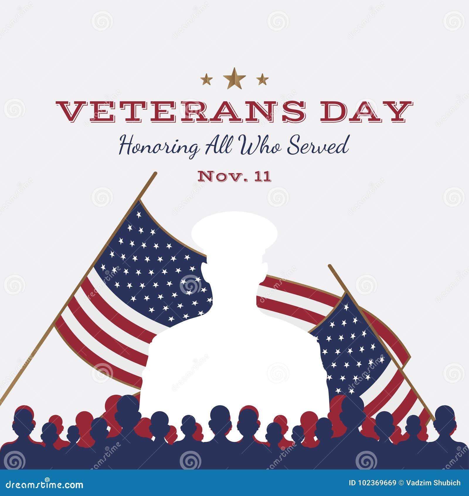 Jour de vétérans heureux Carte de voeux avec le drapeau des Etats-Unis et soldat sur le fond Événement américain national de vaca