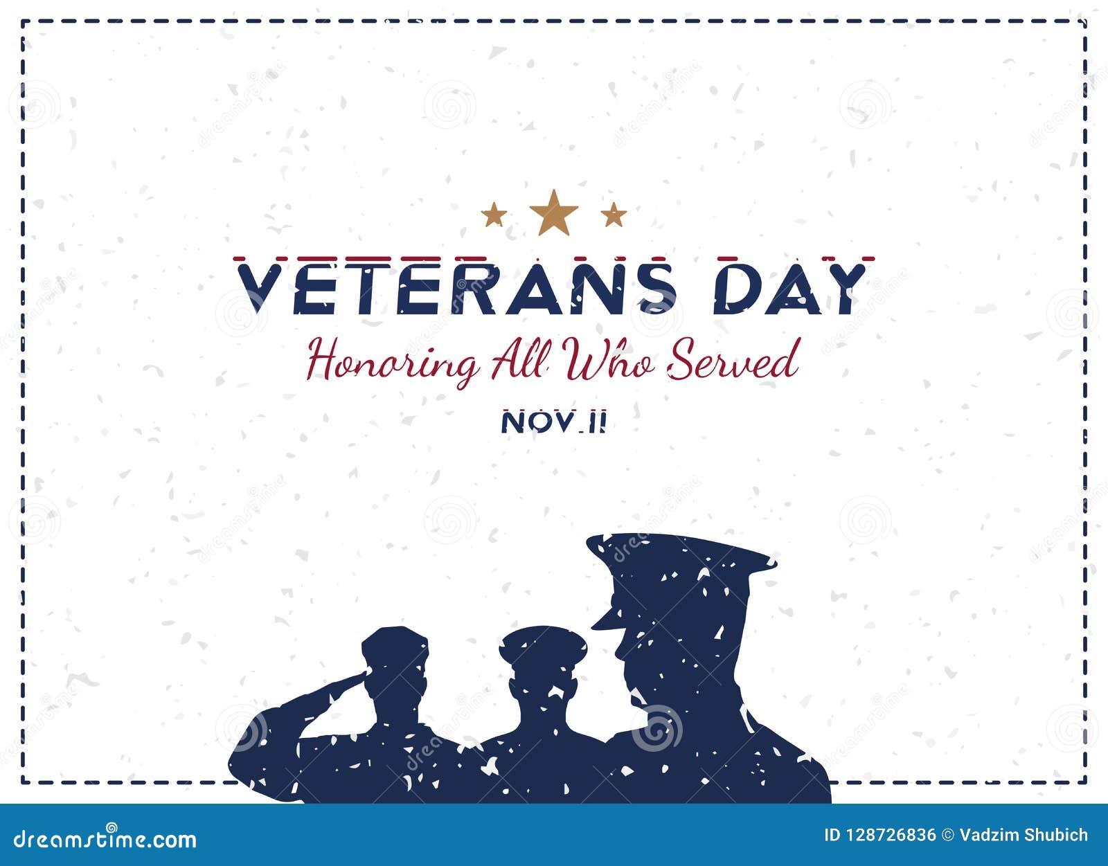 Jour de vétérans heureux Carte de voeux avec le soldat sur le fond Événement américain national de vacances Illustration plate EP