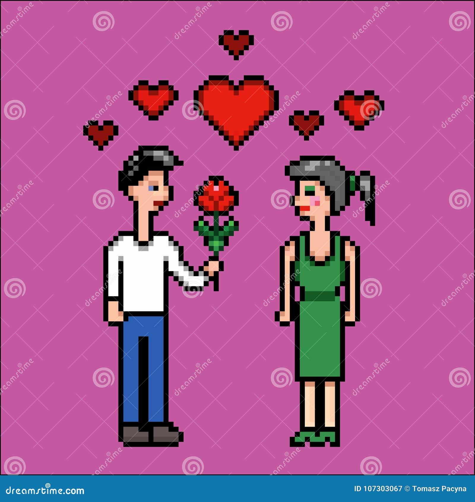 Jour De Valentines Garçon Fille Et Fleur Illustration De