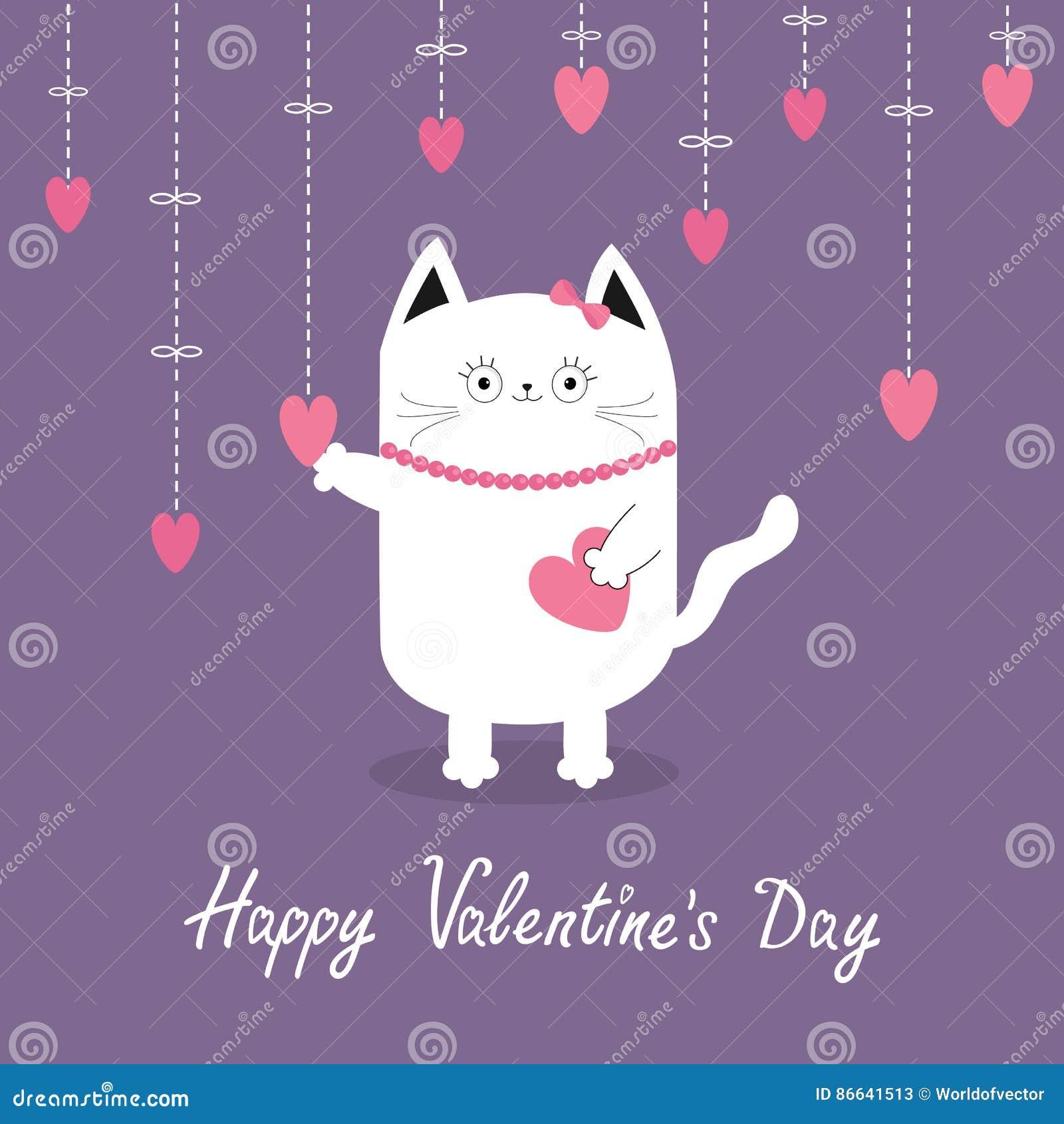 Jour De Valentines Heureux Chat Blanc Accrochant Les Coeurs Roses