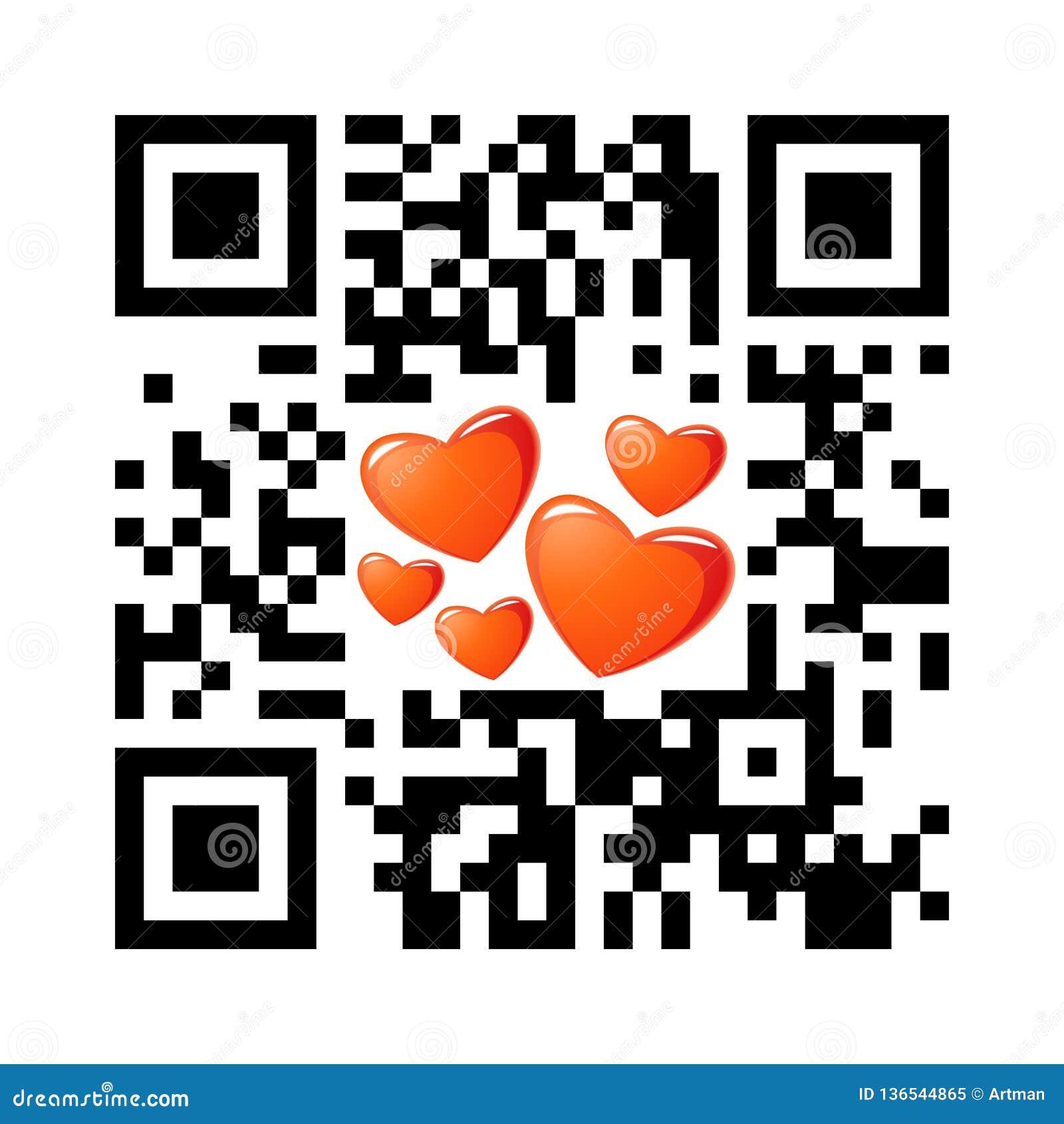 Jour de valentines heureux QR de code lisible de Smartphone avec des icônes de coeur