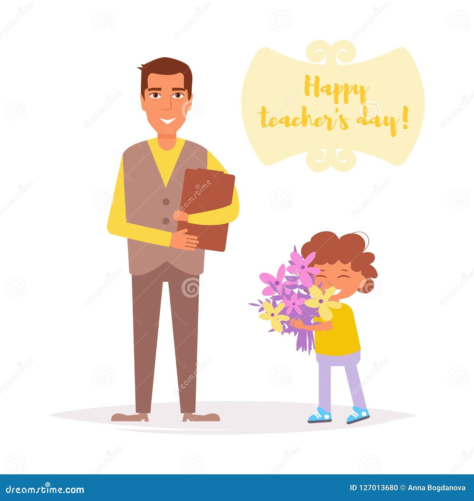 Jour du ` s de professeur L étudiant donne le vecteur de fleurs de professeur cartoon D isolement