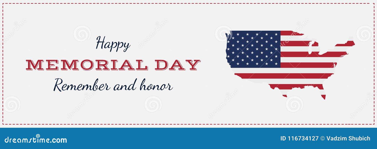 Jour du Souvenir heureux avec la carte des Etats-Unis Carte de voeux avec le drapeau et la carte Événement américain national de
