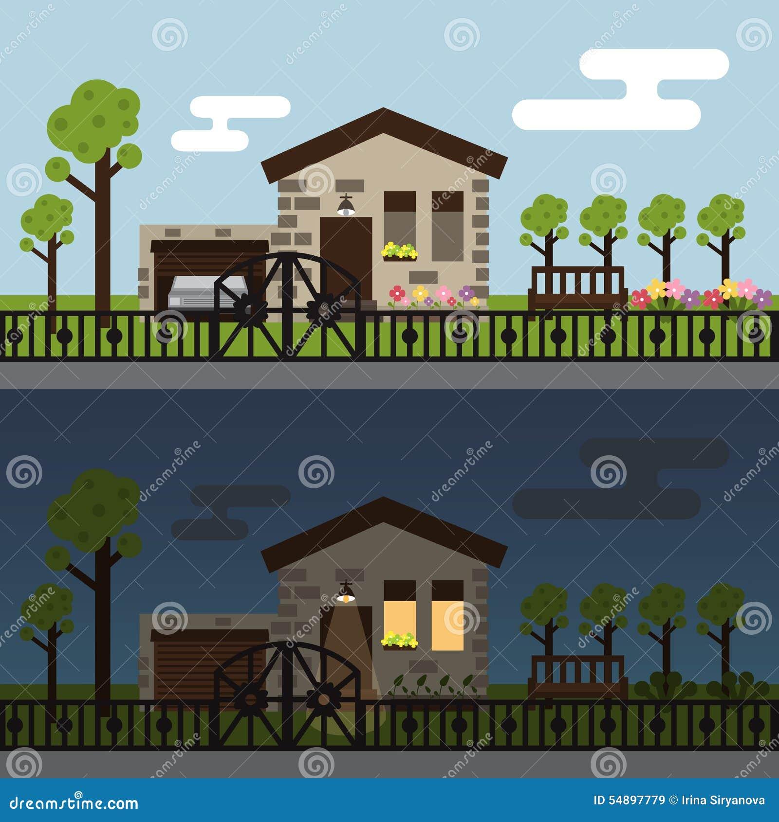 Jour et nuit paysage de maison urbaine illustration de for Plans de maisons urbaines
