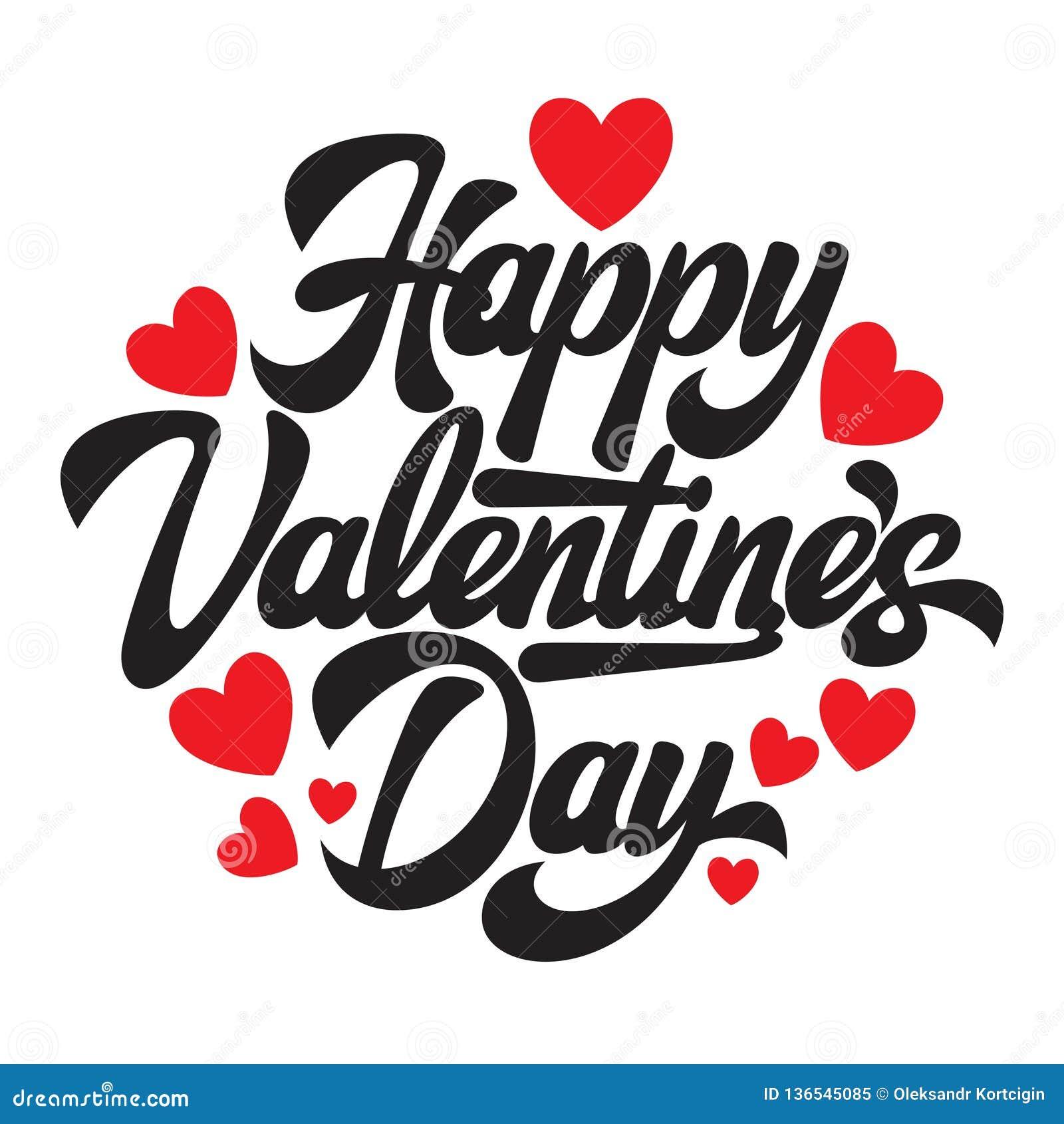 Jour heureux de Valentine s d inscription élégante calligraphique de vecteur avec des coeurs