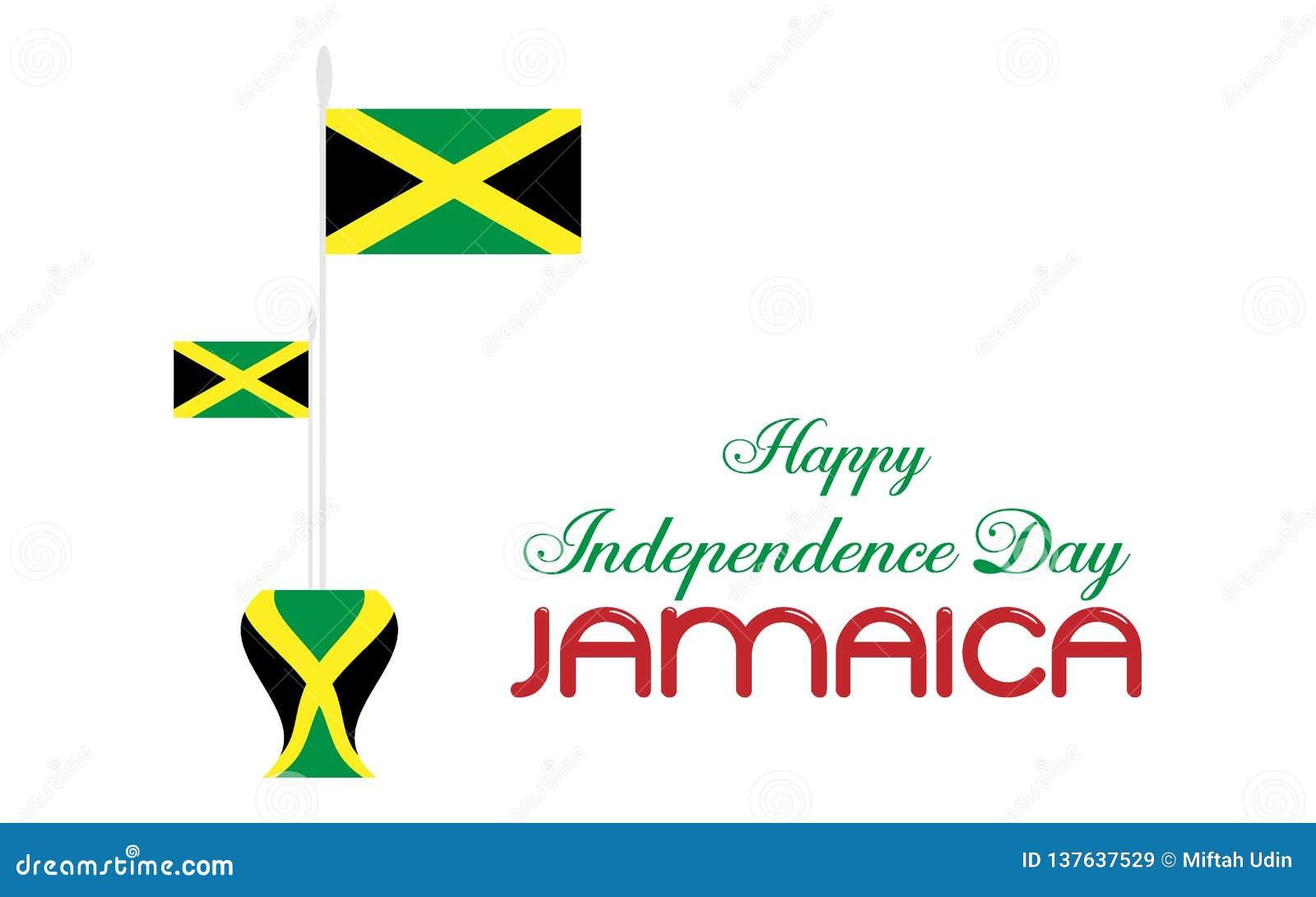 Jour heureux Jamaïque d indepedence de drapeau d icône de logo de conception d illustration