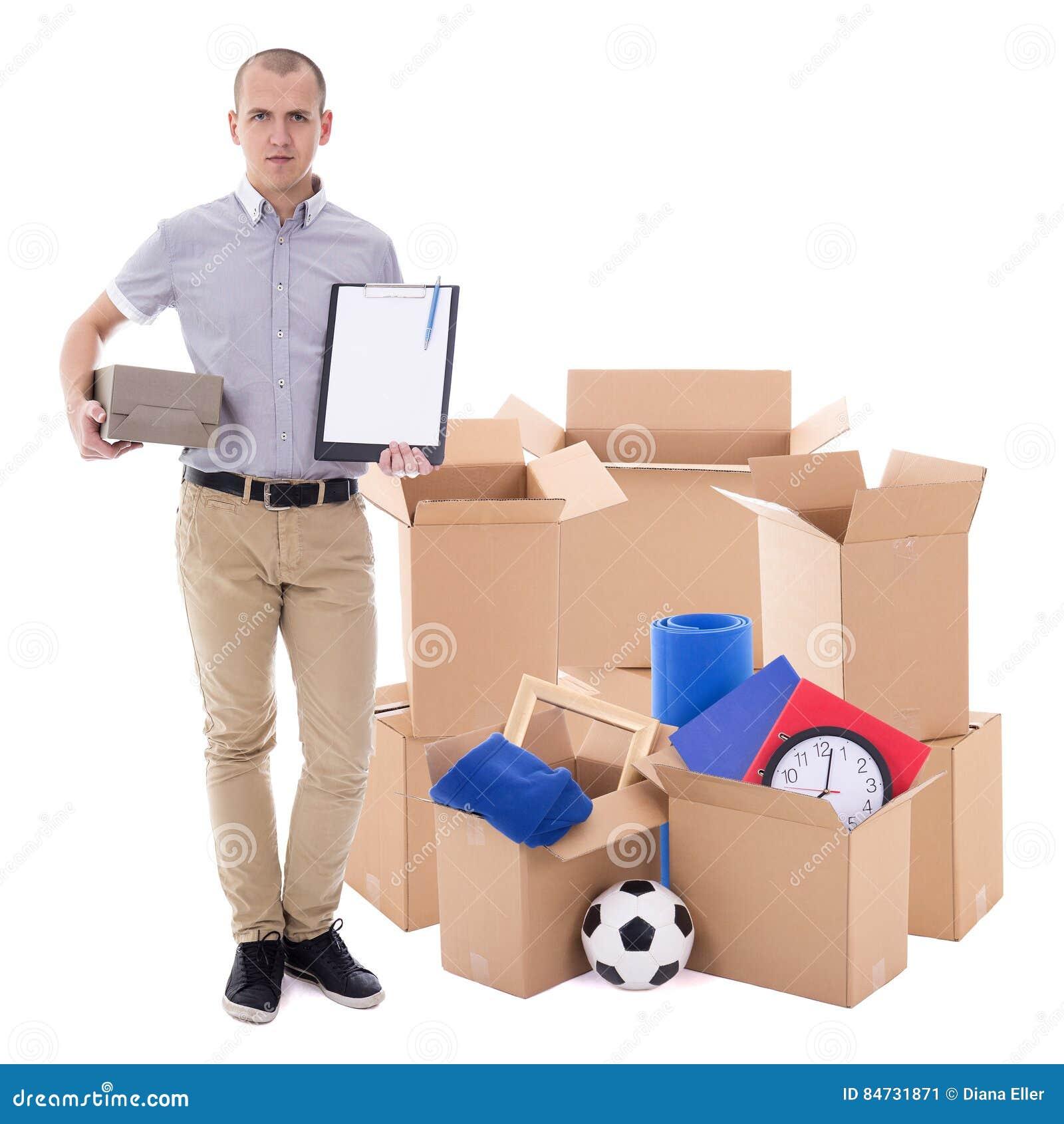 Jour ou concept mobile de la livraison - homme avec les boîtes en carton brunes