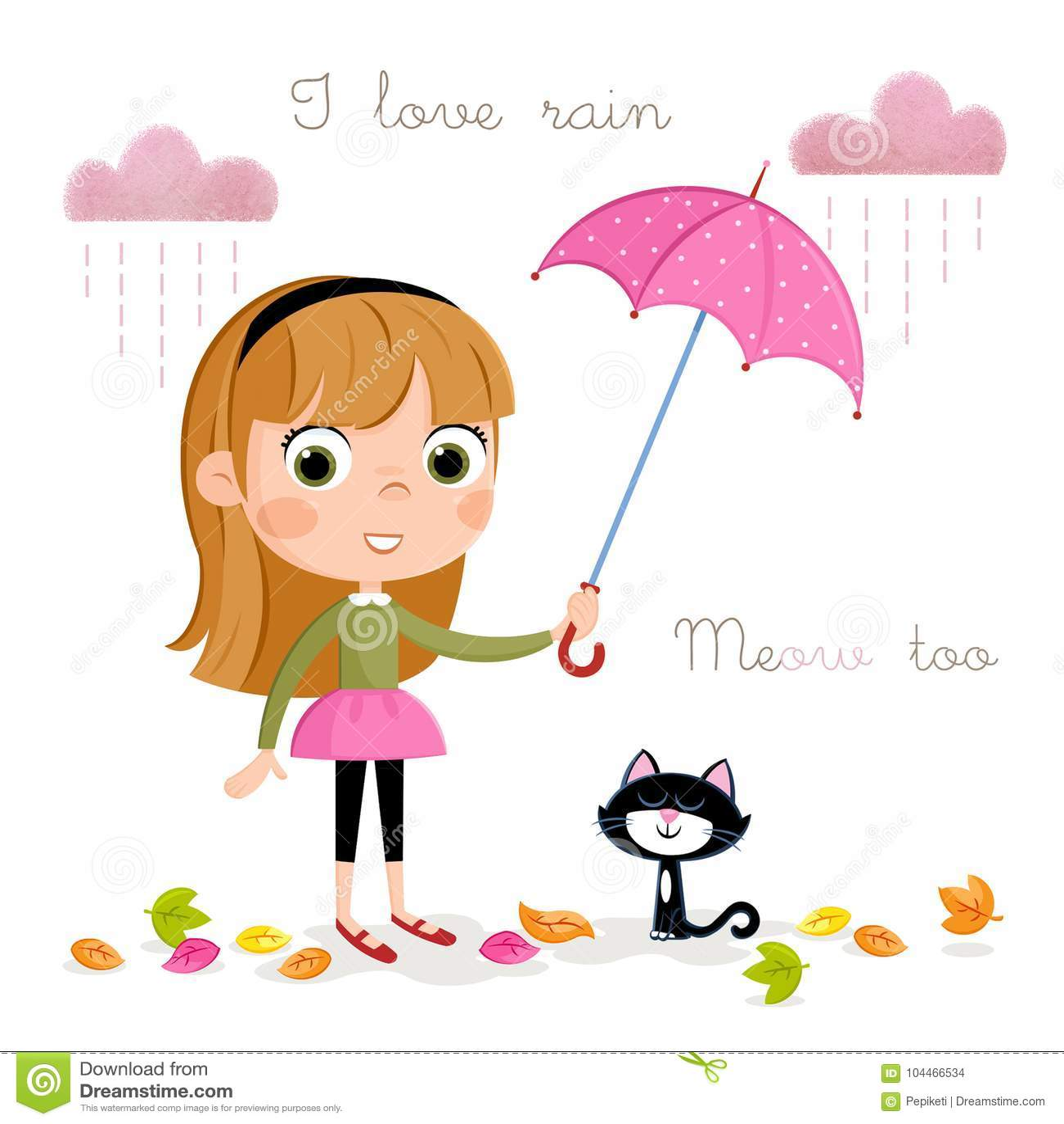 Jour Pluvieux Petite Fille Avec Le Parapluie Et Les
