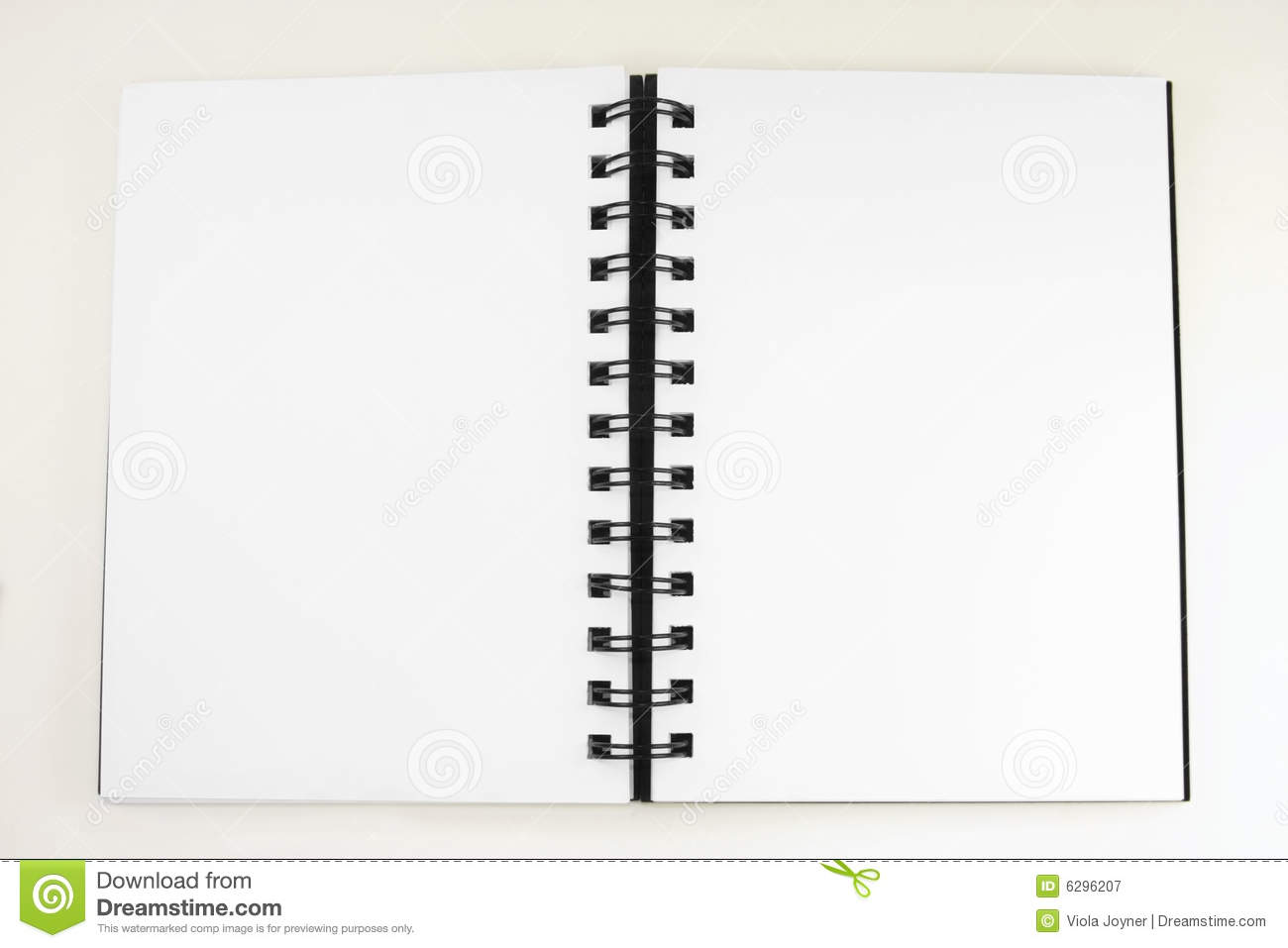 Black journal open and blank against a white background.