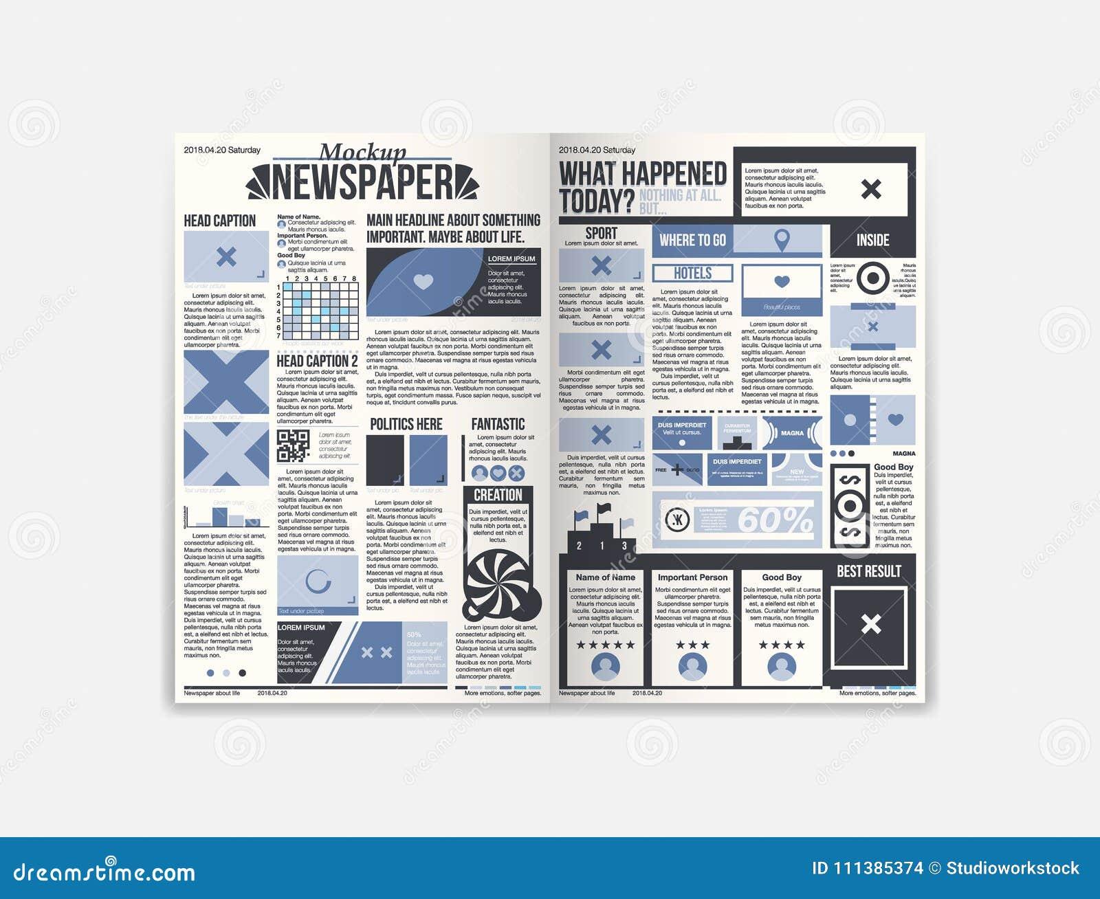 journal newspaper design with fresh news stock vector illustration