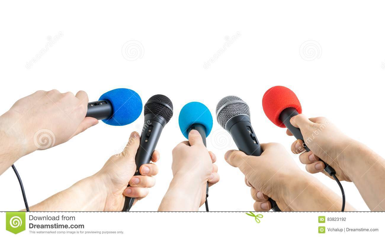 Journalism and conference concept. Many reporter hands hold microphones.
